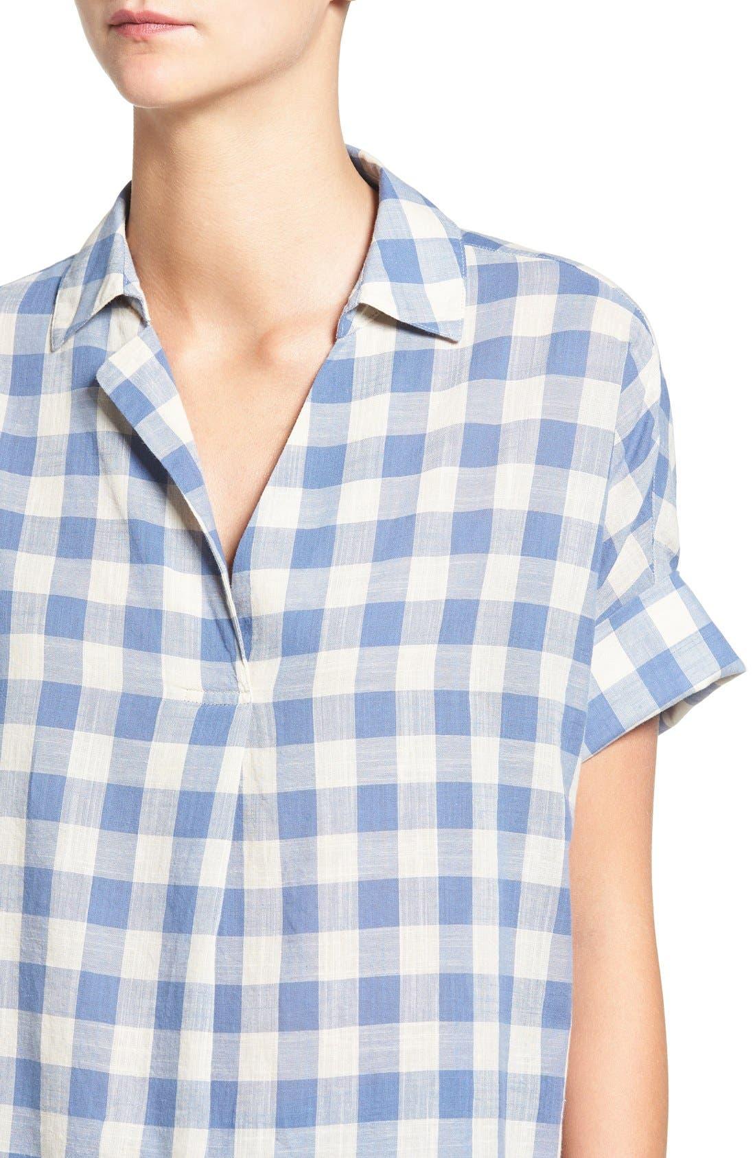 'Courier' Back Button Shirt,                             Alternate thumbnail 3, color,                             408