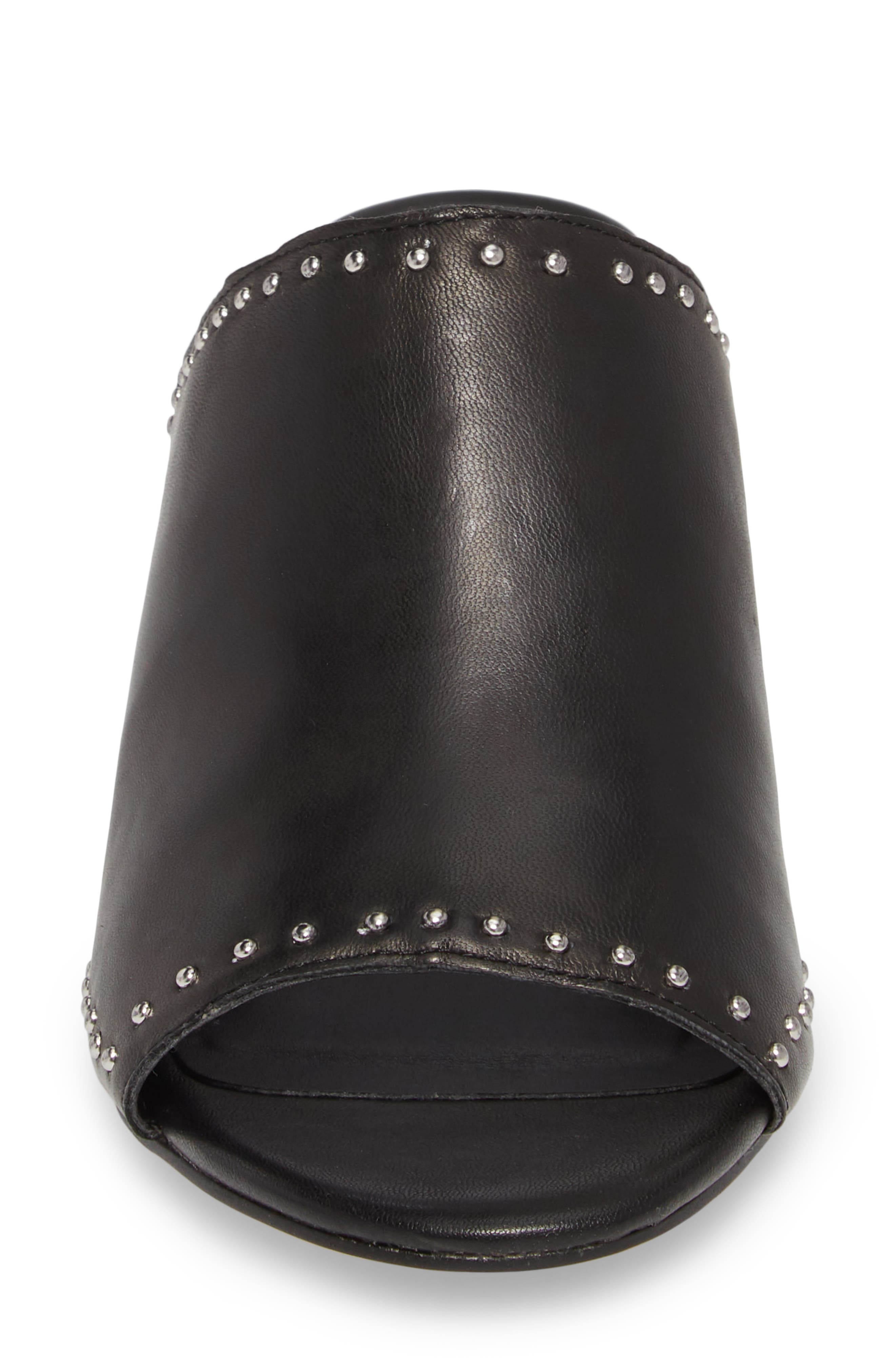 Lainy Studded Mule,                             Alternate thumbnail 4, color,                             BLACK LEATHER