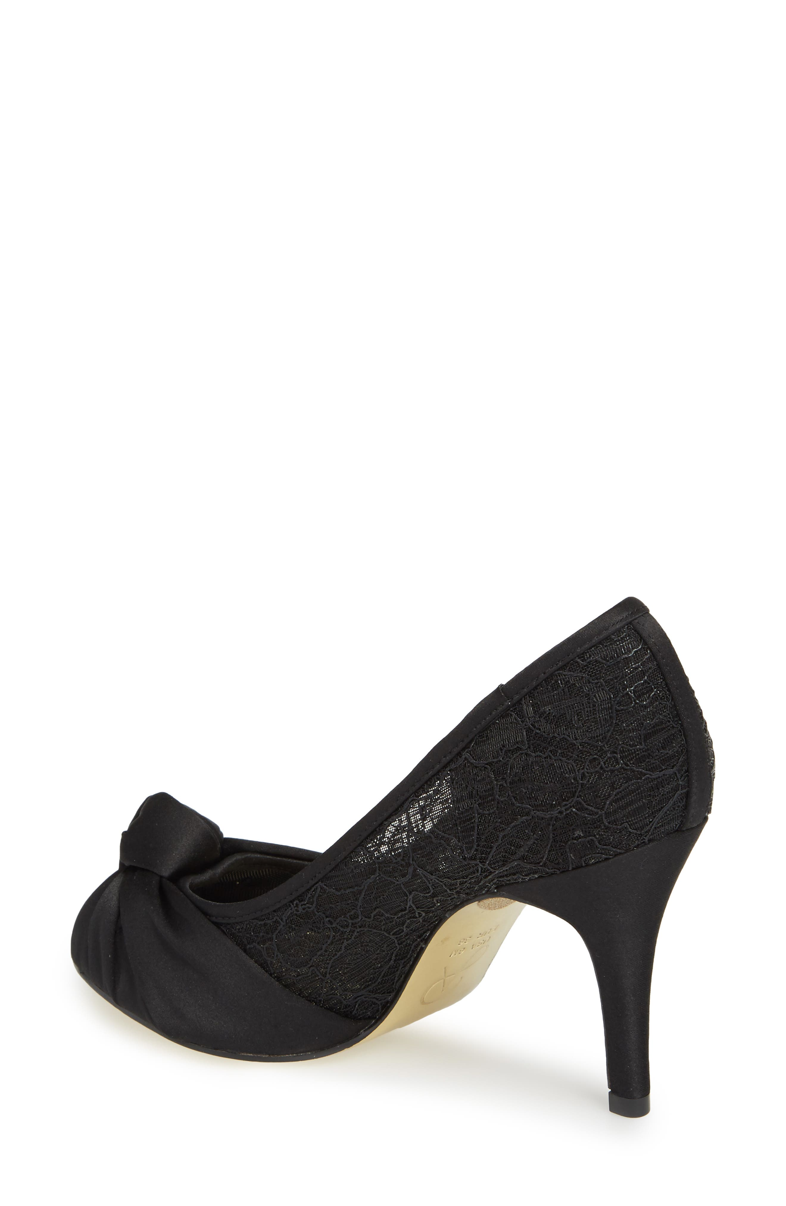 Francesca Knotted Peep Toe Pump,                             Alternate thumbnail 2, color,                             001