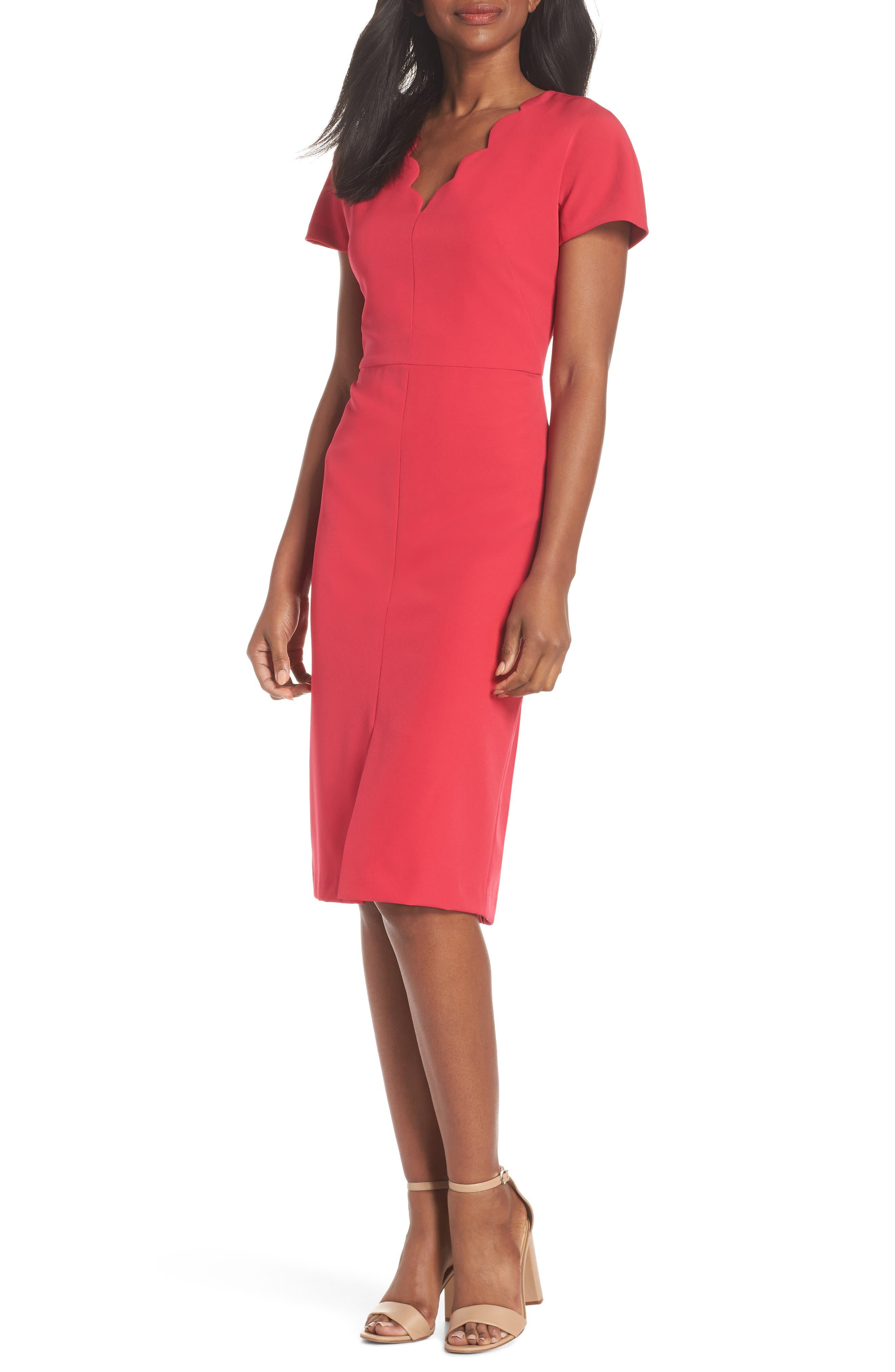 Scallop Sheath Dress,                             Main thumbnail 1, color,                             650