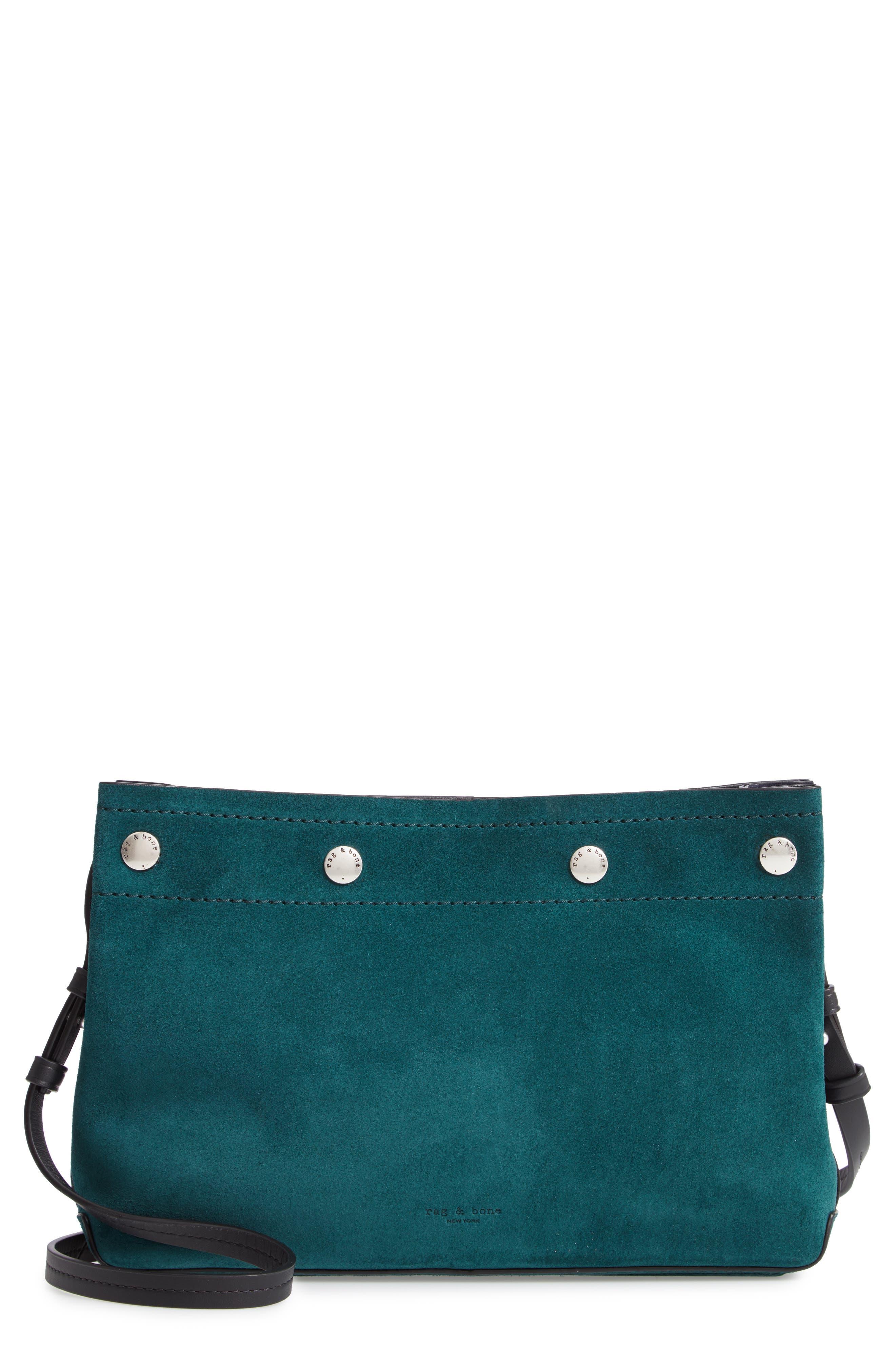RAG & BONE Compass Colorblock Leather Crossbody Bag, Main, color, FOREST MULTI