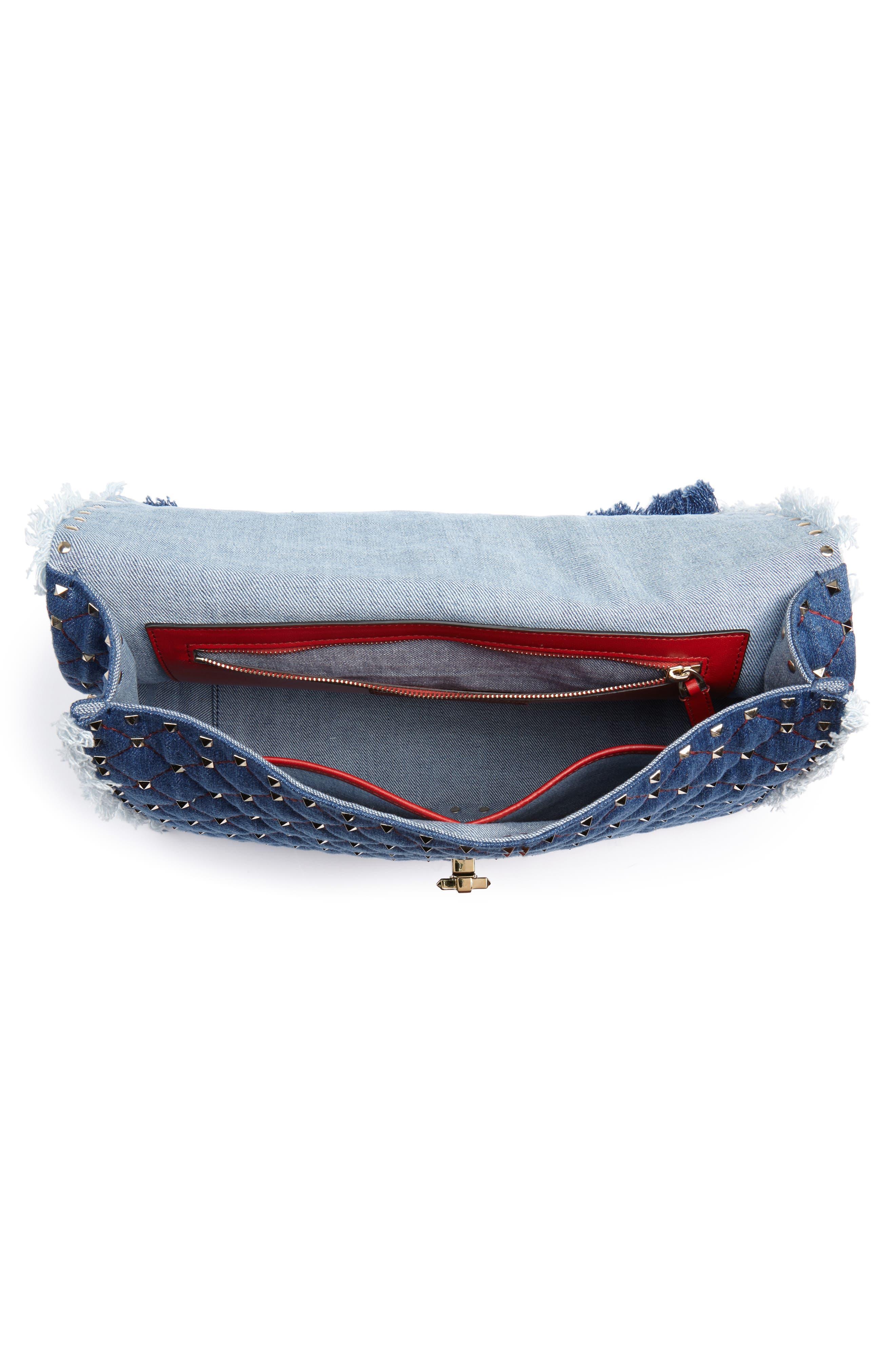Maxi Rockstud Spike Denim Shoulder Bag,                             Alternate thumbnail 4, color,                             408