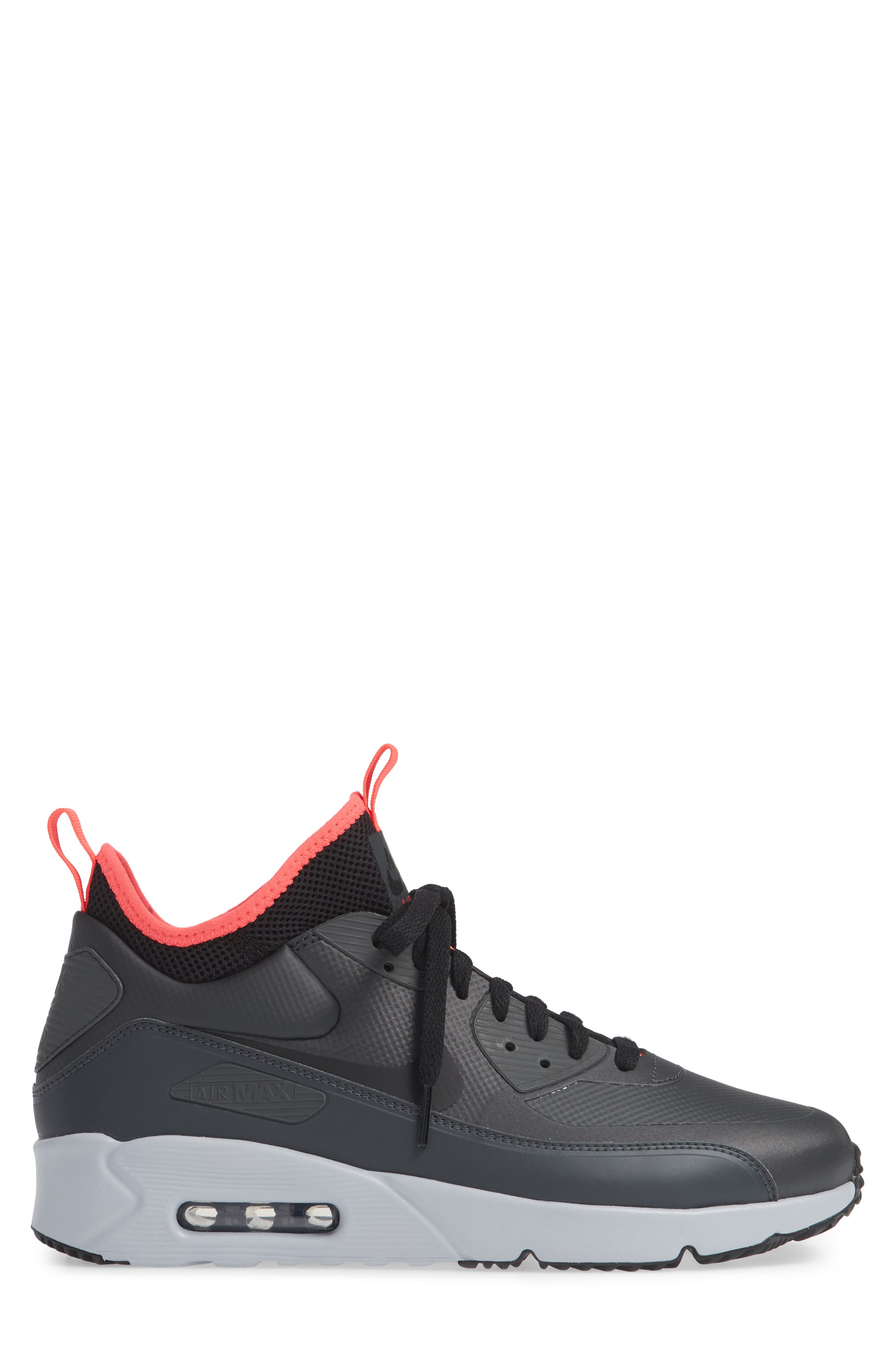 Air Max 90 Ultra Mid Winter Sneaker,                             Alternate thumbnail 3, color,                             ANTHRACITE/ BLACK/ SOLAR RED