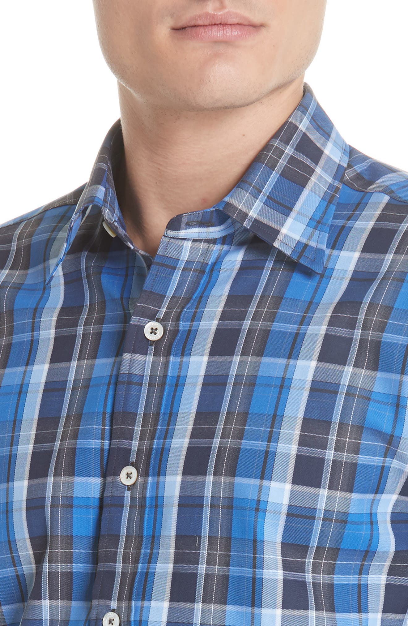 Regular Fit Plaid Sport Shirt,                             Alternate thumbnail 2, color,