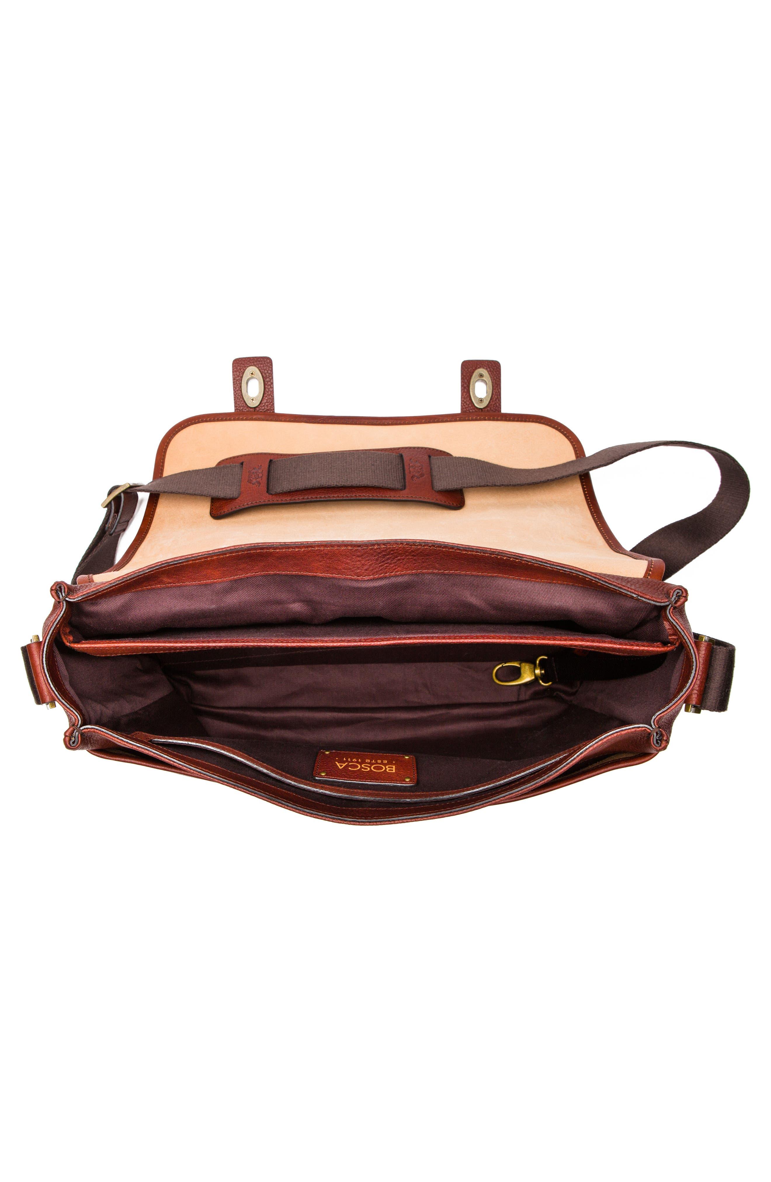 Leather Messenger Bag,                             Alternate thumbnail 3, color,                             DARK BROWN