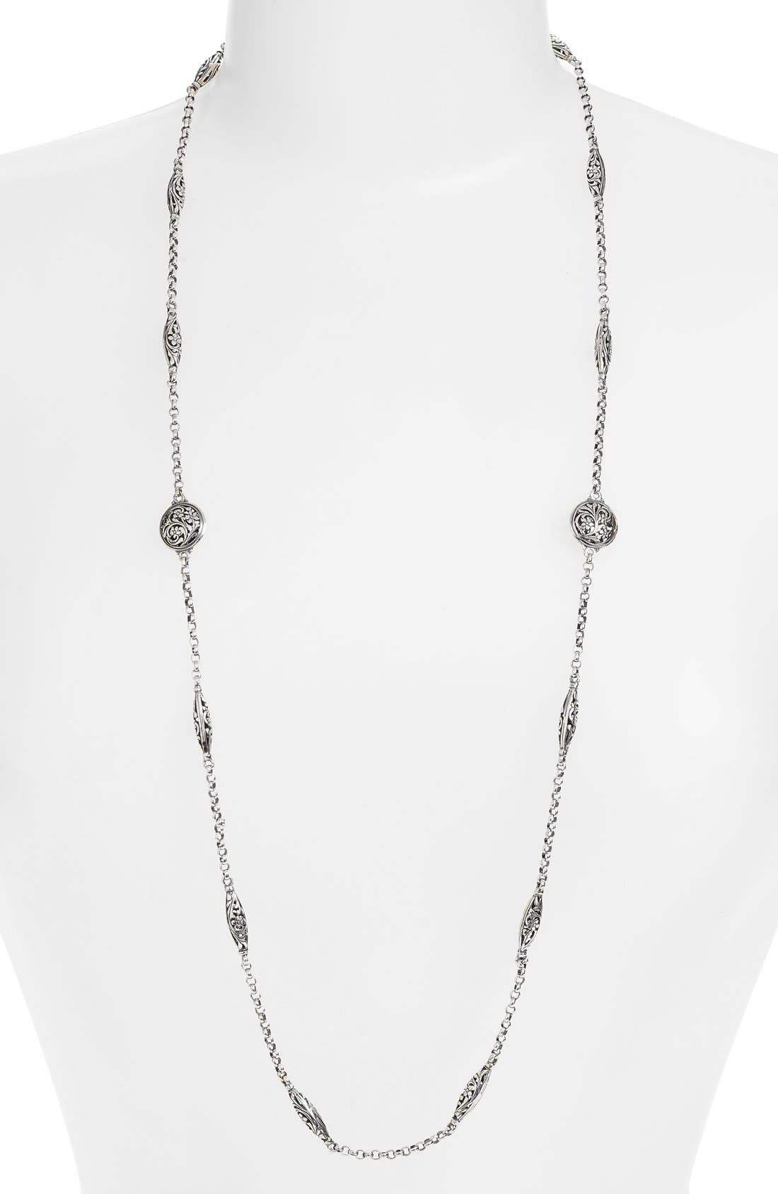 'Silver Classics' Long Filigree Station Necklace,                             Main thumbnail 1, color,                             SILVER