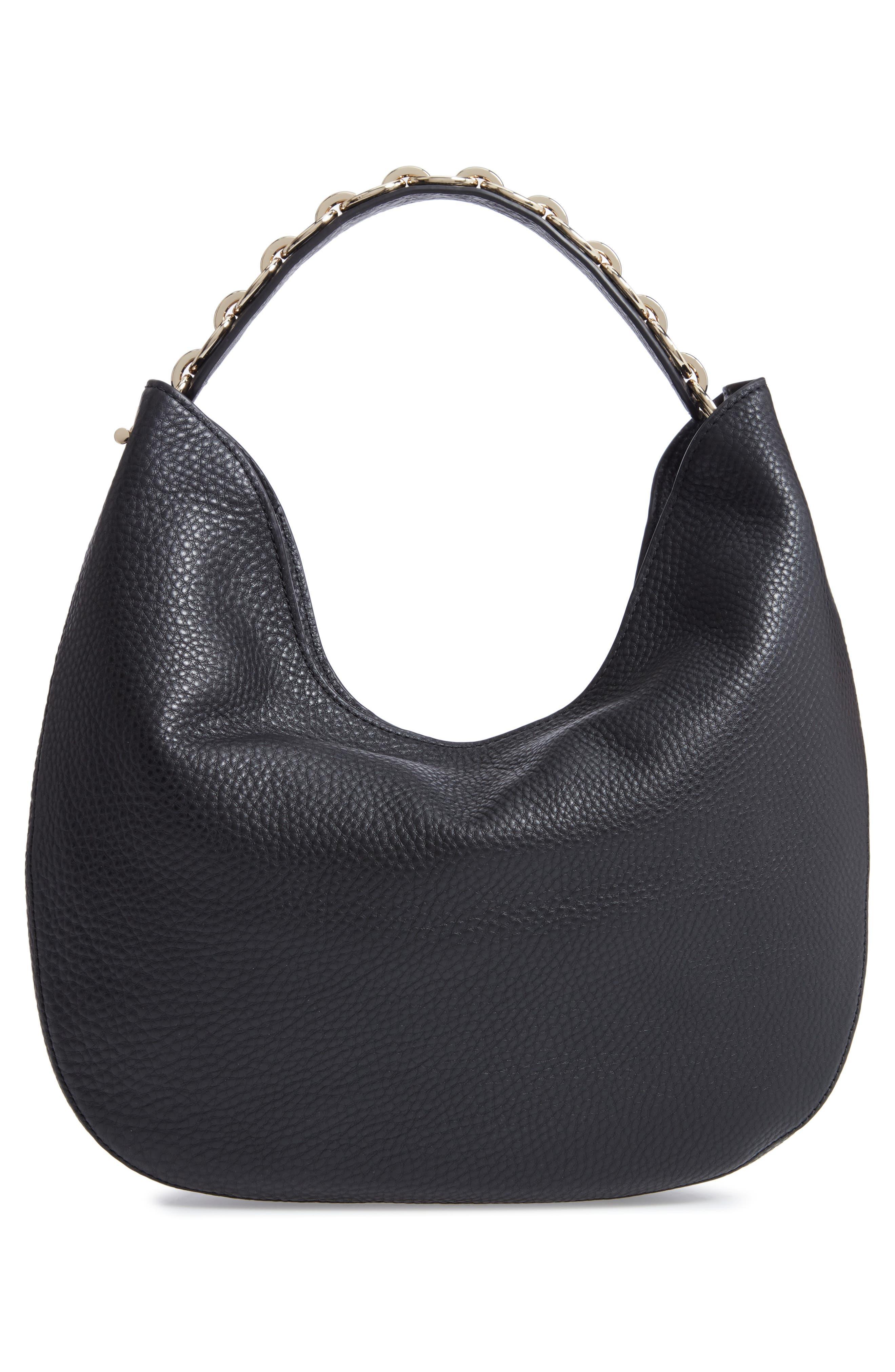 murray street heather pebbled leather hobo bag,                             Alternate thumbnail 3, color,                             BLACK
