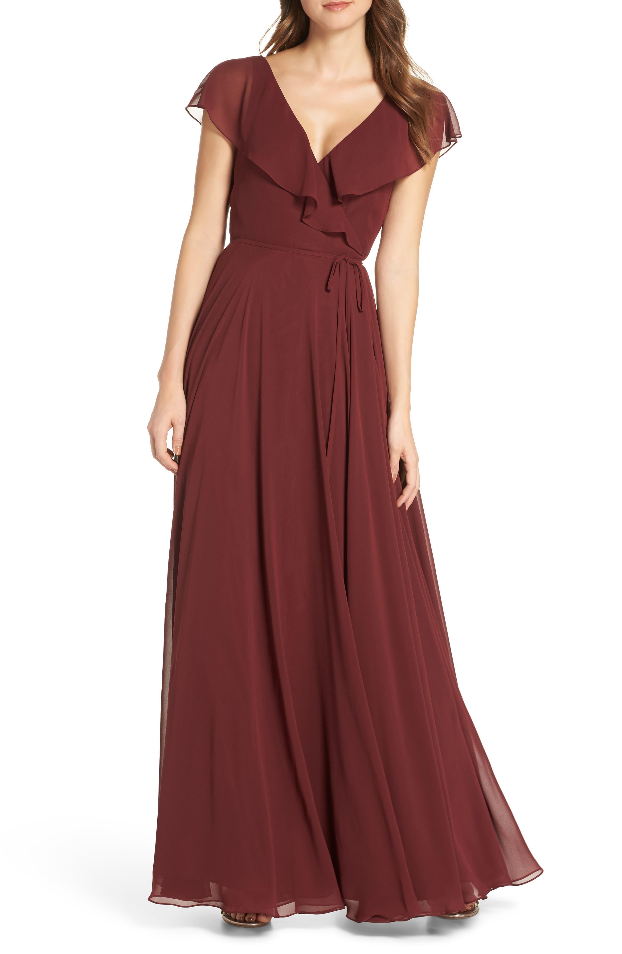 Jenny Yoo Faye Ruffle Wrap Chiffon Evening Dress, Red