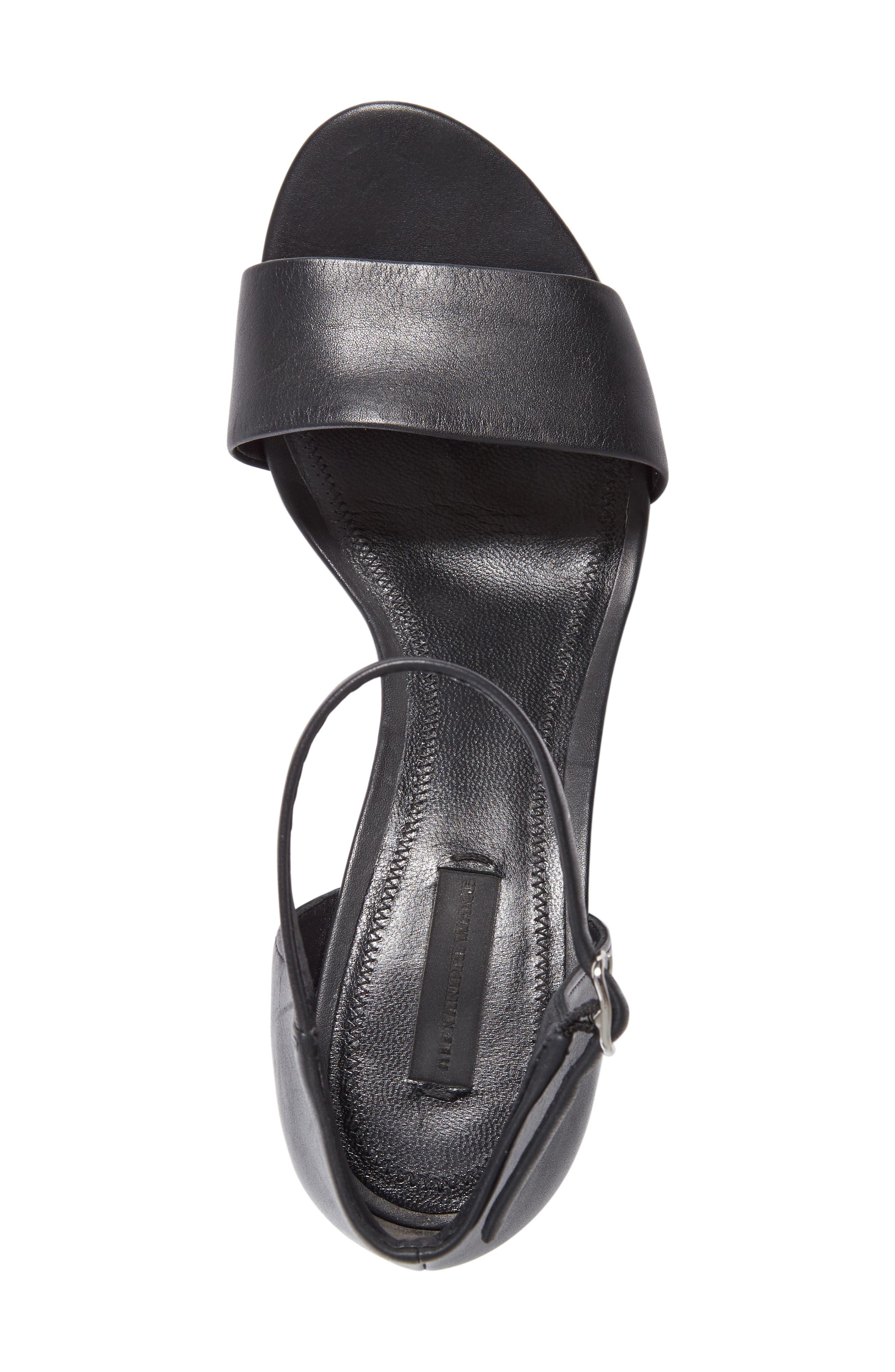 'Abby' Ankle Strap Sandal,                             Alternate thumbnail 4, color,                             BLACK