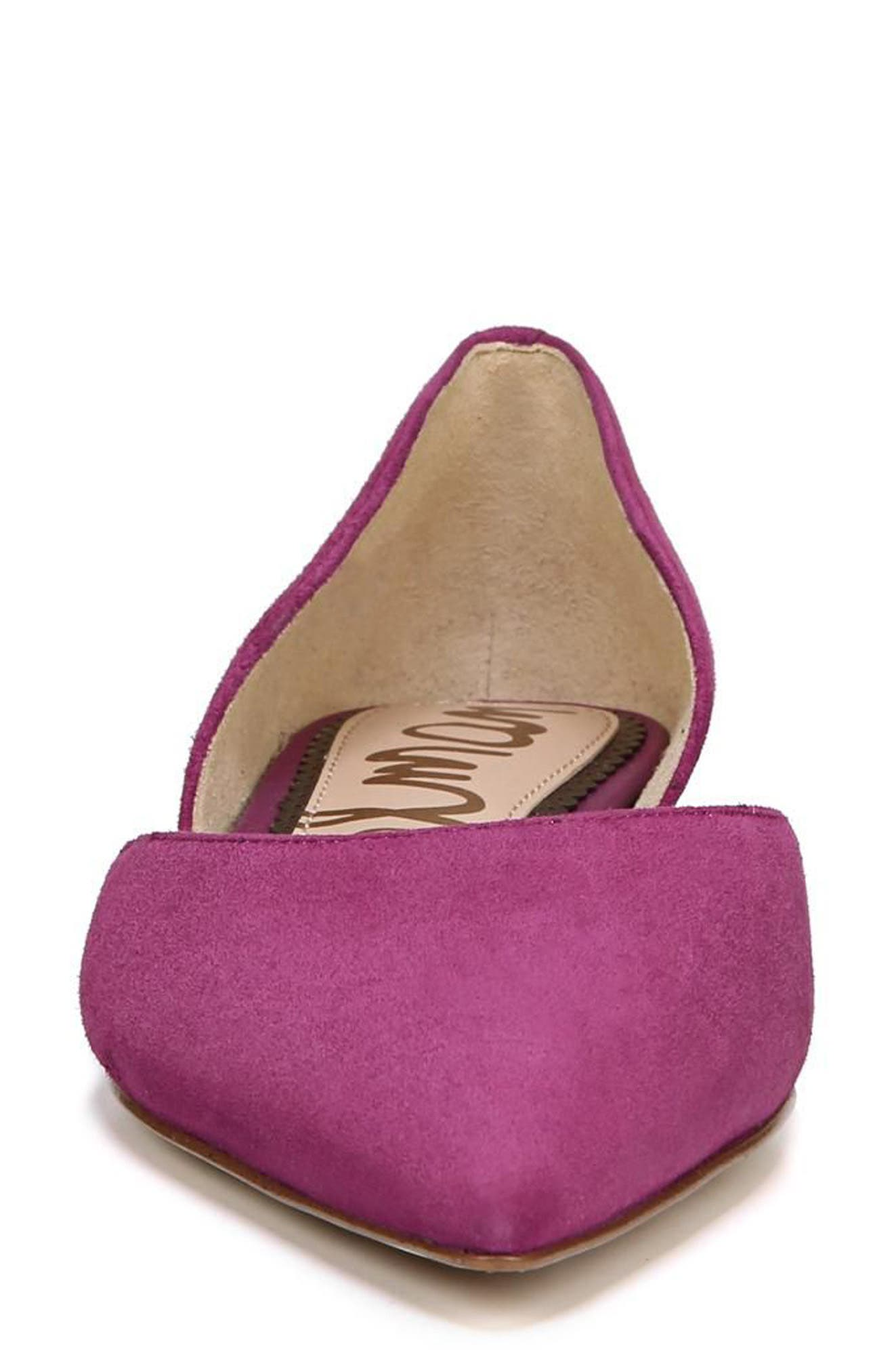 Rodney Pointy Toe d'Orsay Flat,                             Alternate thumbnail 4, color,                             PURPLE PLUM SUEDE