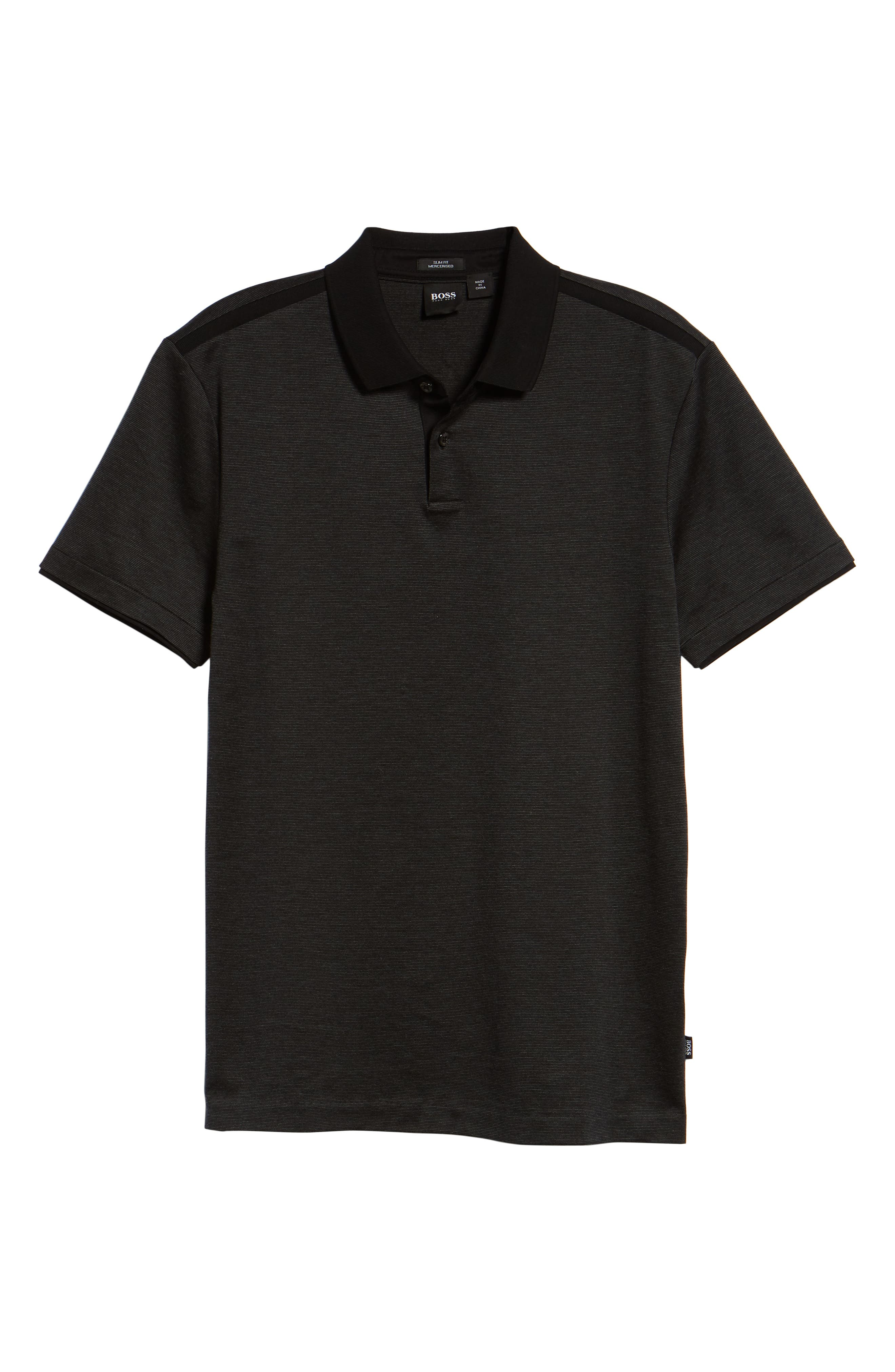 Pitton Slim Fit Polo,                             Alternate thumbnail 6, color,                             001