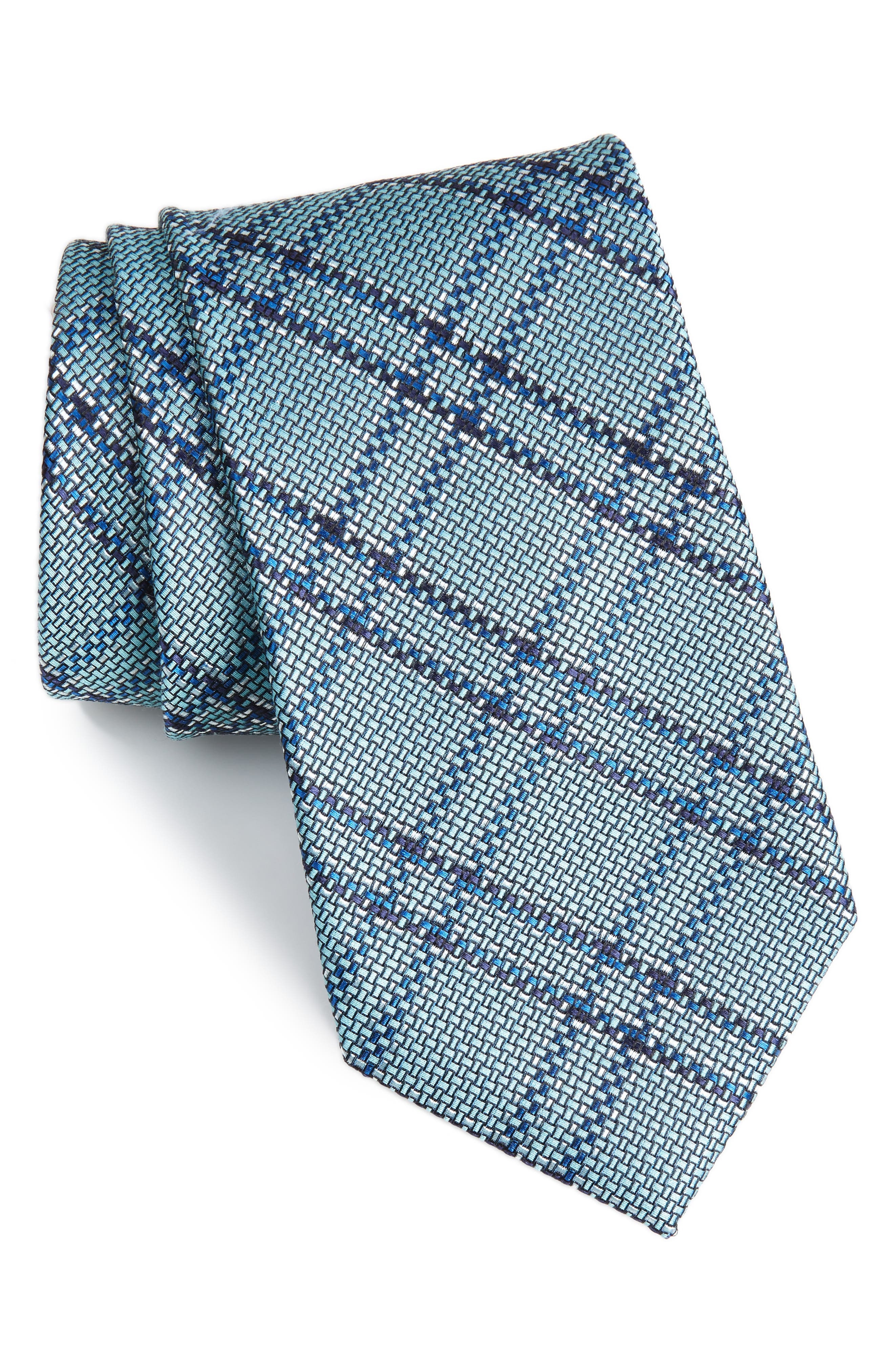 Tasker Plaid Silk & Cotton Tie,                         Main,                         color, MINT