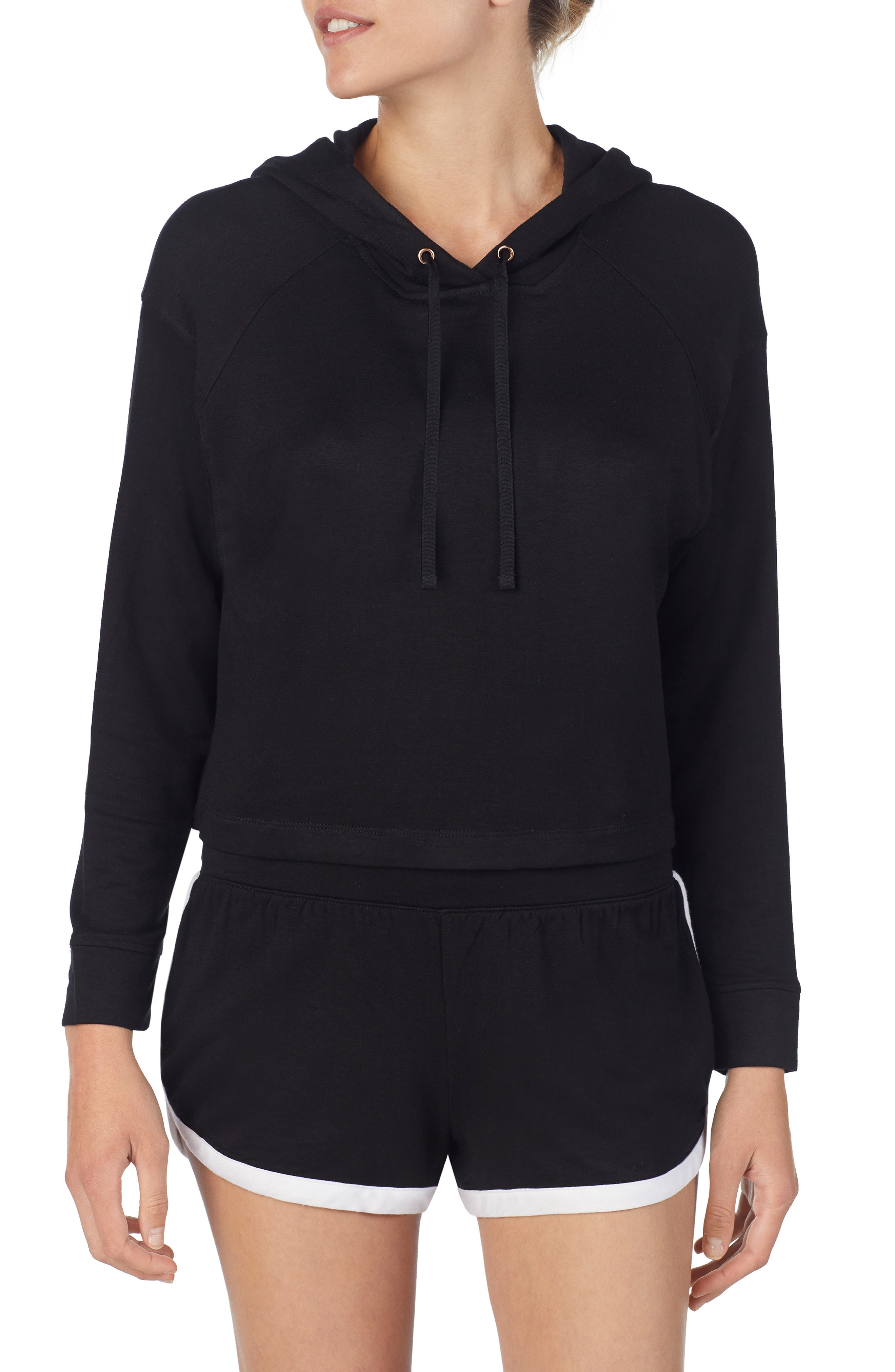 Raglan Lounge Hoodie,                         Main,                         color, BLACK