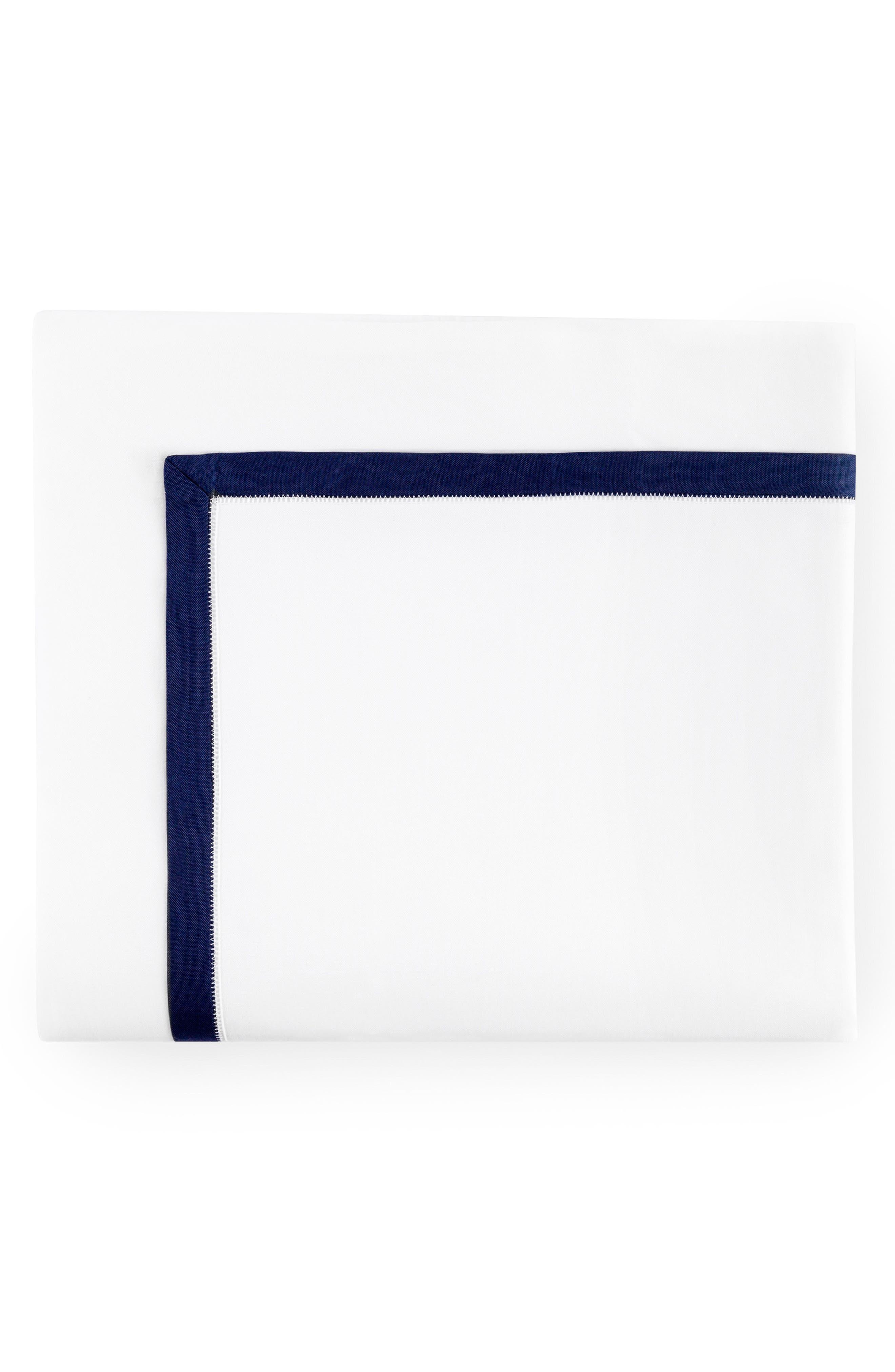 Amando Flat Sheet,                             Main thumbnail 1, color,                             WHITE/ NAVY