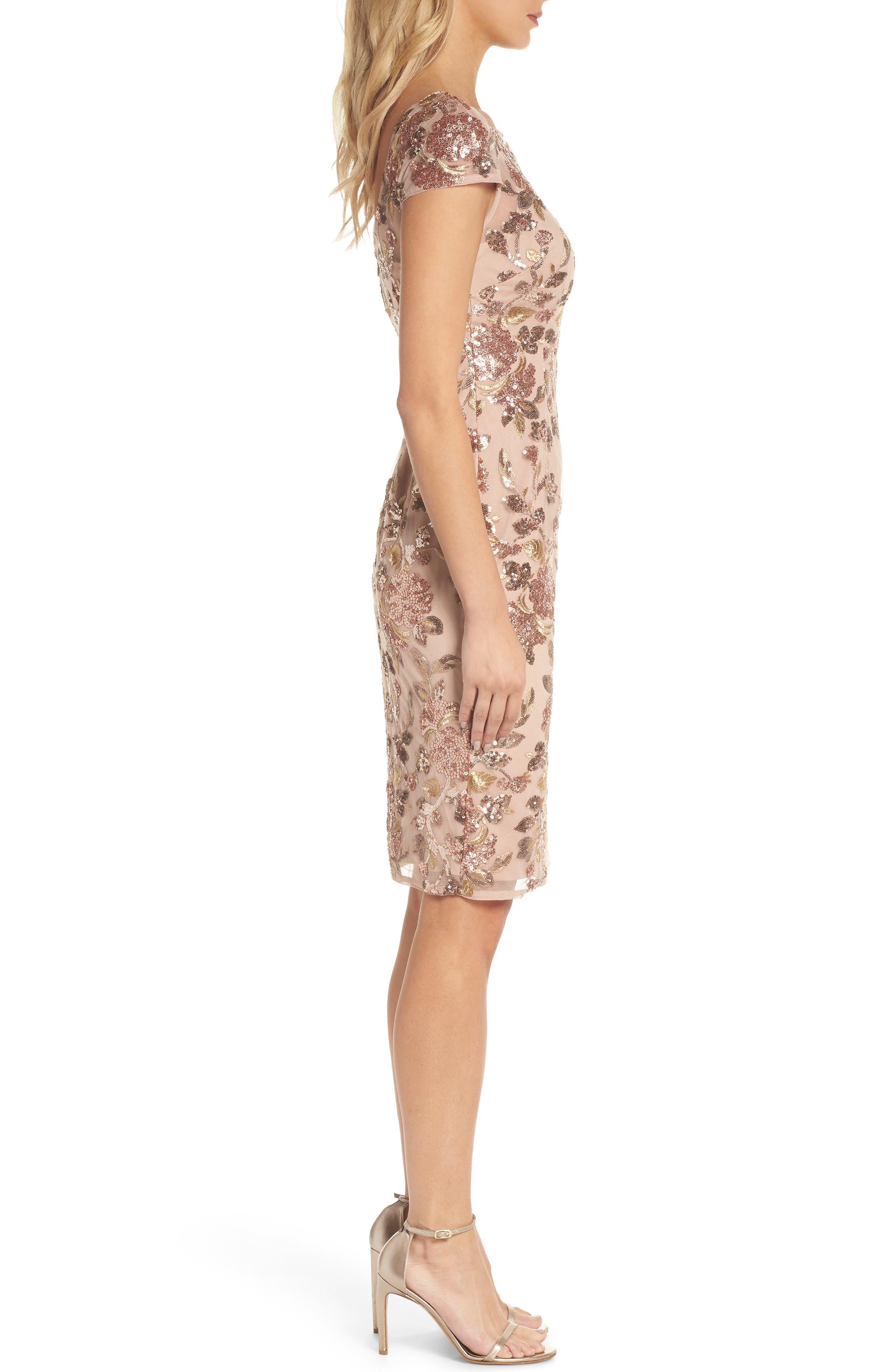 Metallic Floral Sequin Cocktail Dress,                             Alternate thumbnail 3, color,                             220
