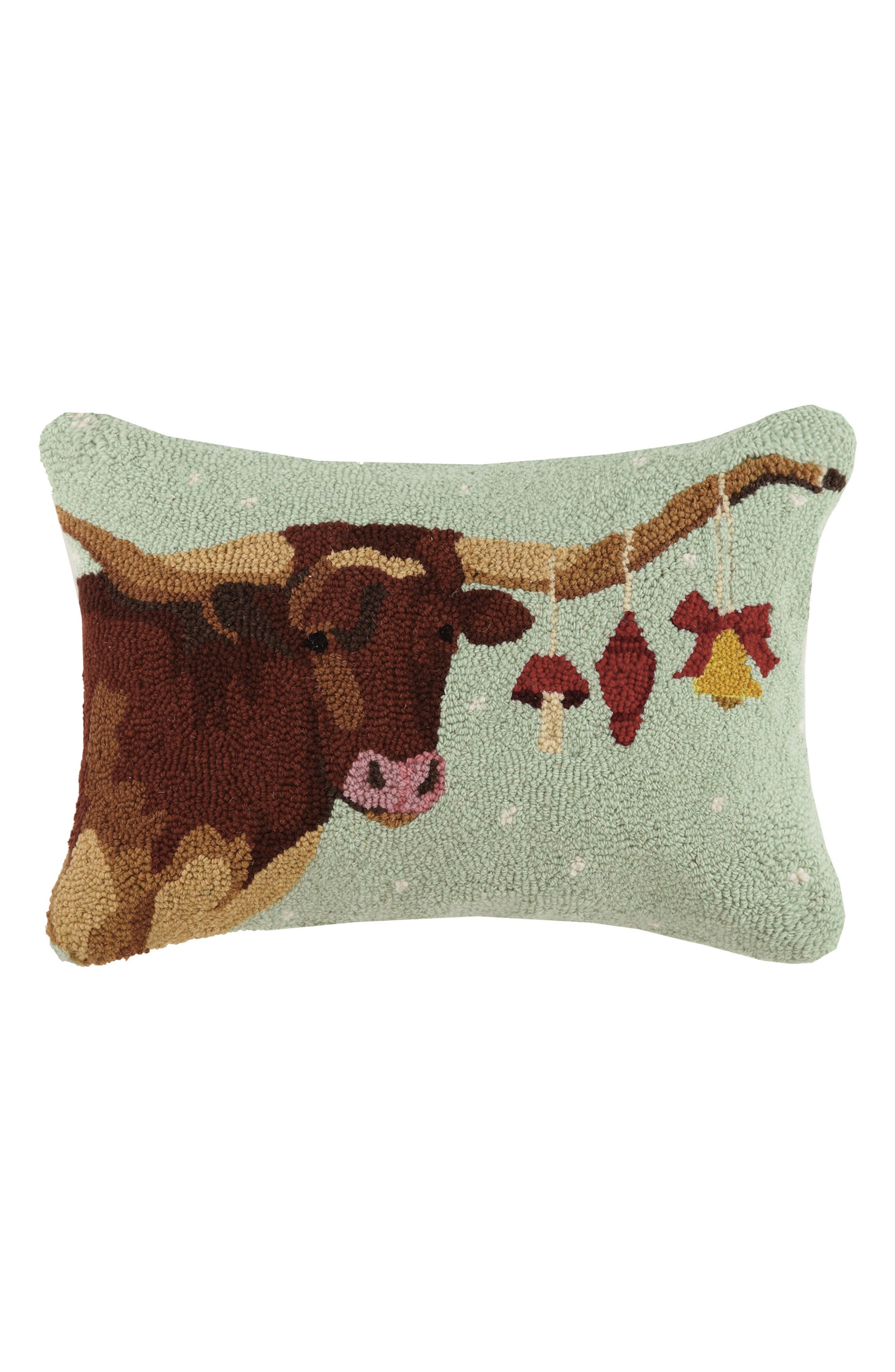 Longhorn with Ornaments Hooked Accent Pillow,                         Main,                         color,