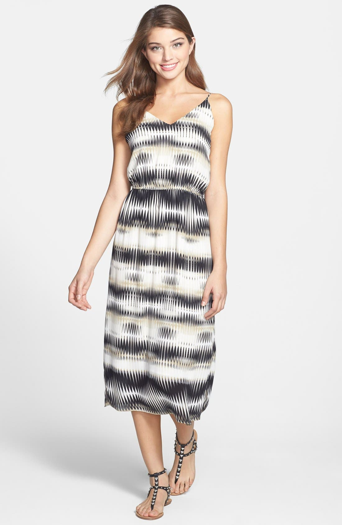 'Linear Echoes' Print Midi Dress,                             Main thumbnail 1, color,