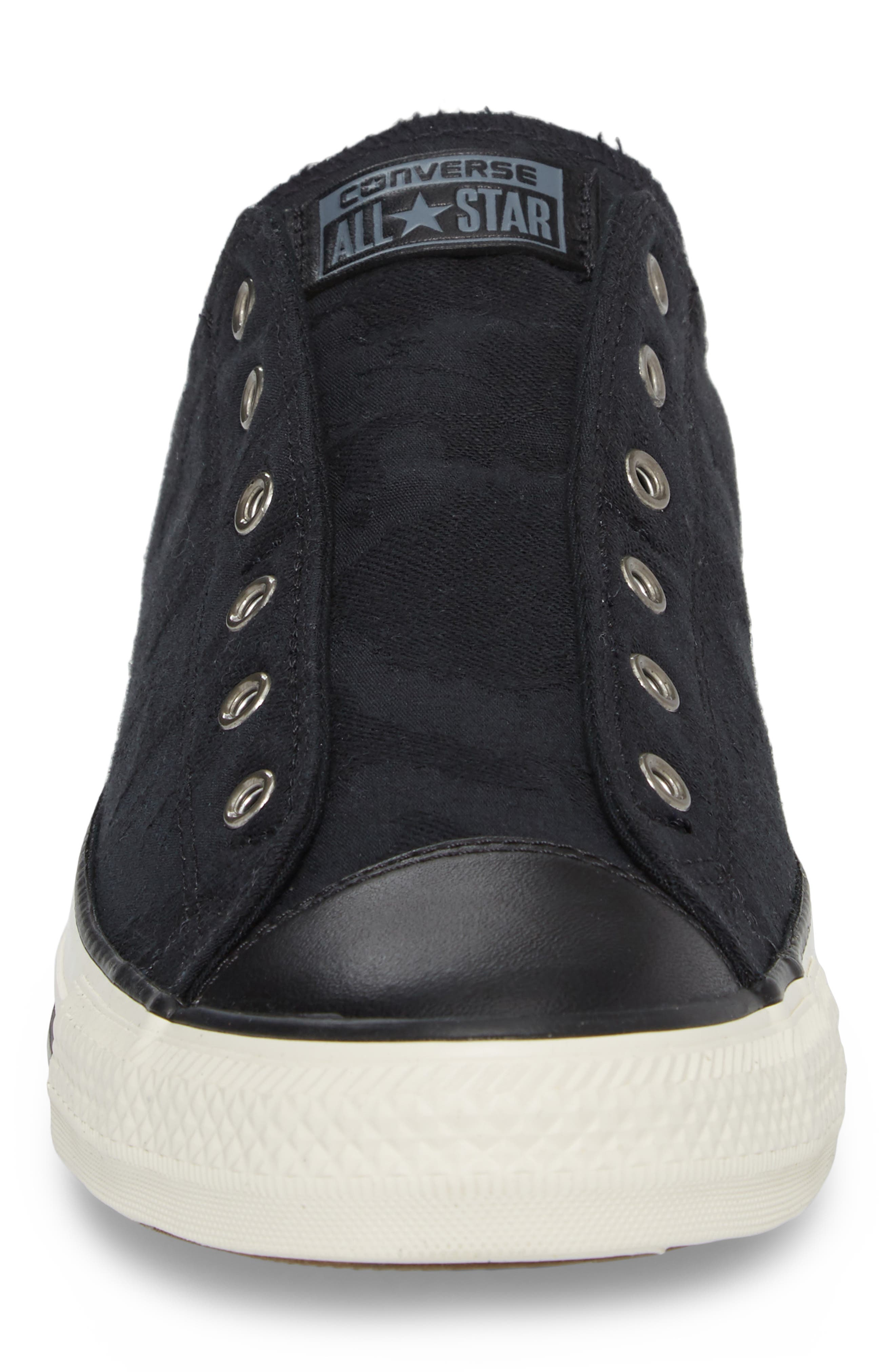 Chuck Taylor<sup>®</sup> All Star<sup>®</sup> Laceless Low Top Sneaker,                             Alternate thumbnail 4, color,                             BLACK