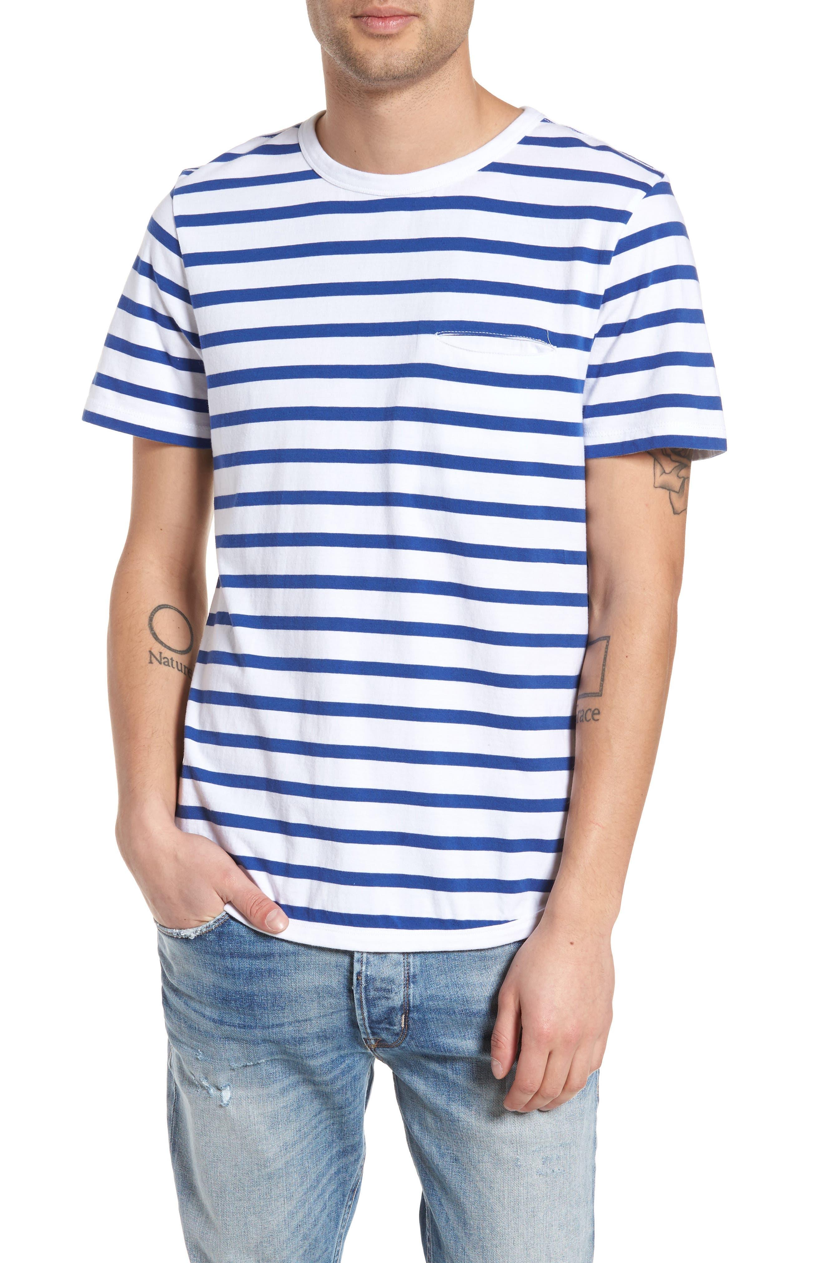 Striped Crewneck T-Shirt,                             Main thumbnail 1, color,                             420