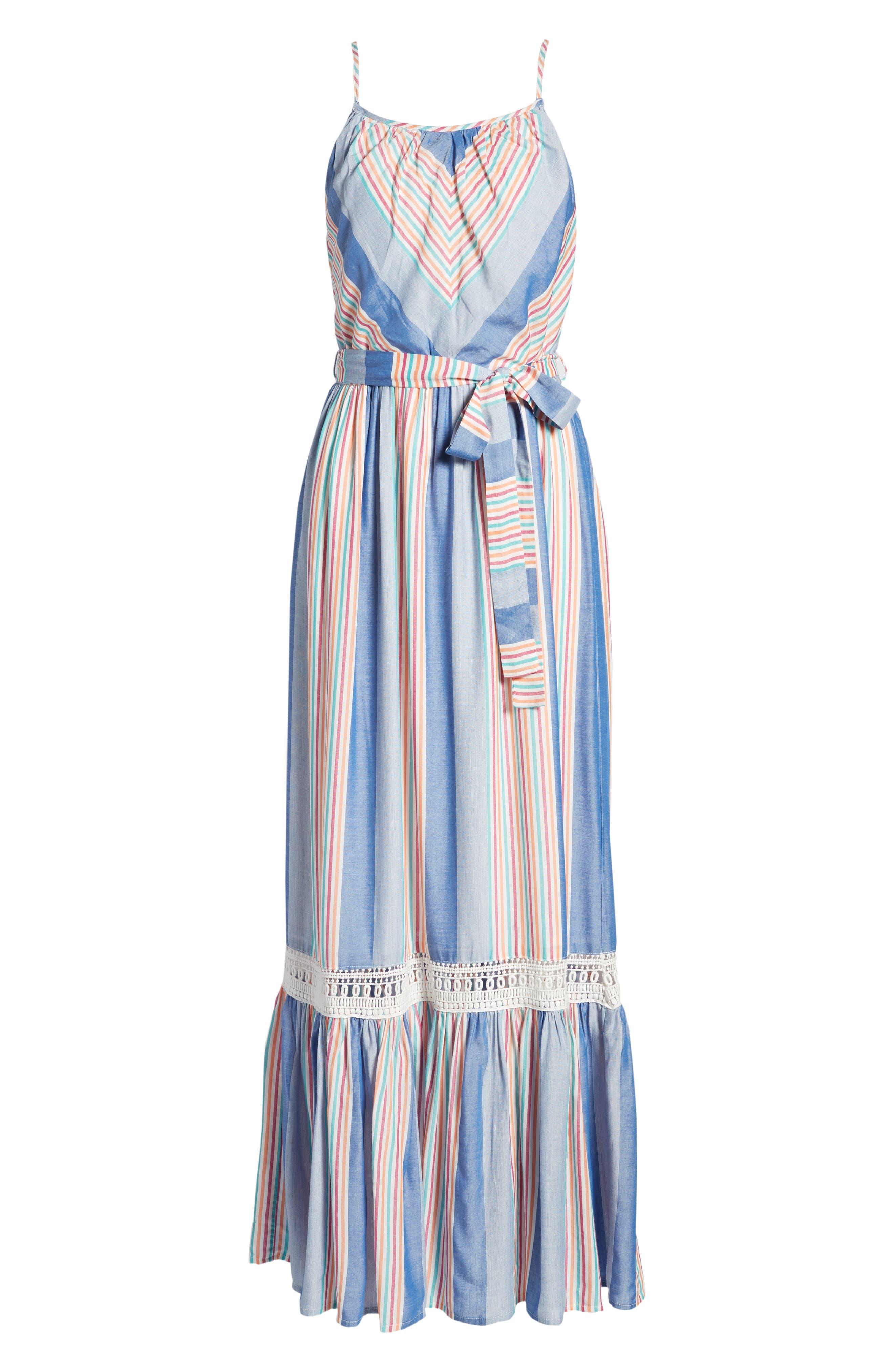 Tie Waist Cotton Maxi Dress,                             Alternate thumbnail 24, color,