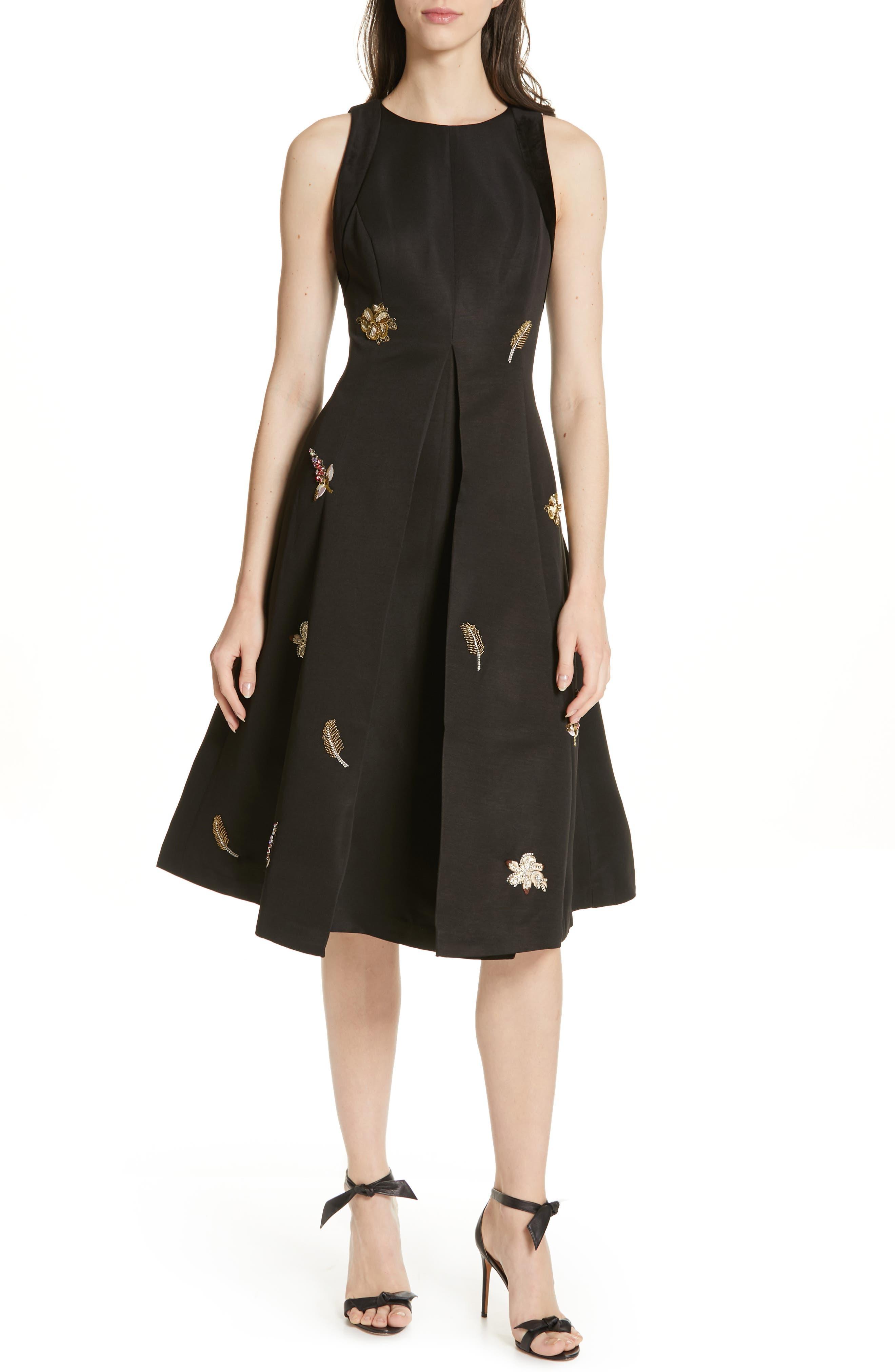 Ted Baker London Flloraa Embellished Fit & Flare Dress, Black