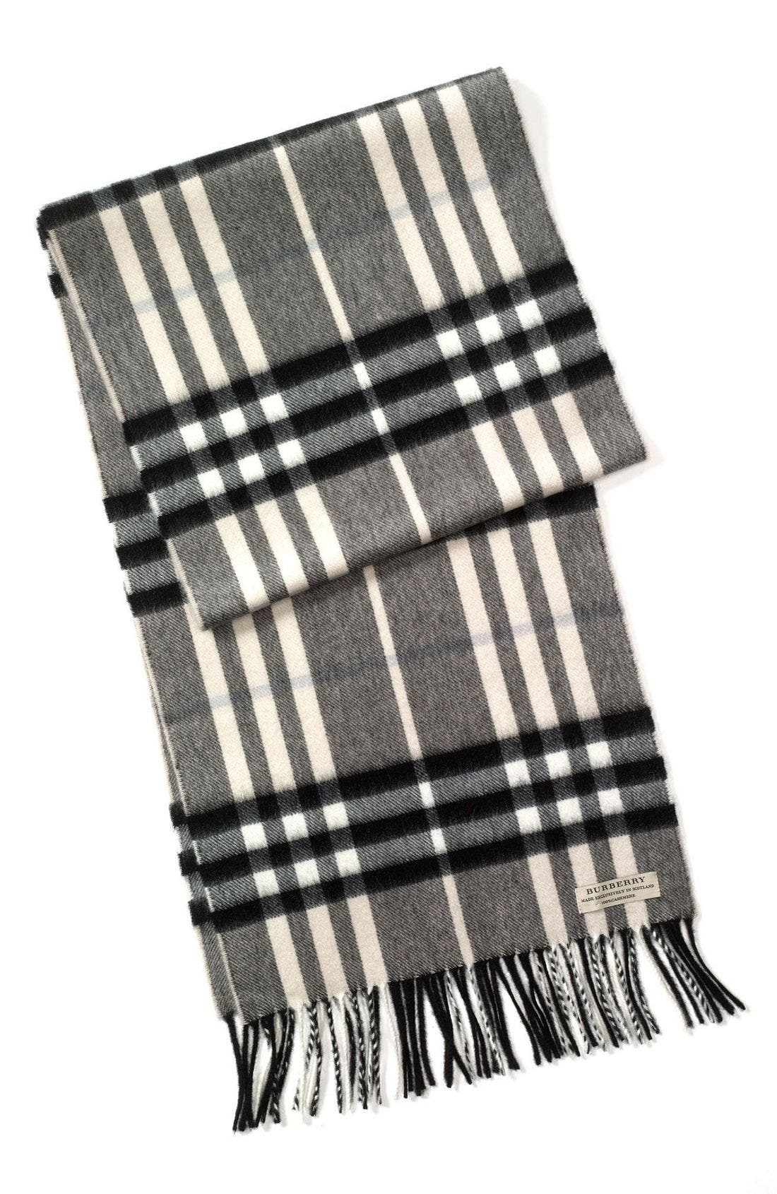 Heritage Check Cashmere Scarf,                             Main thumbnail 5, color,