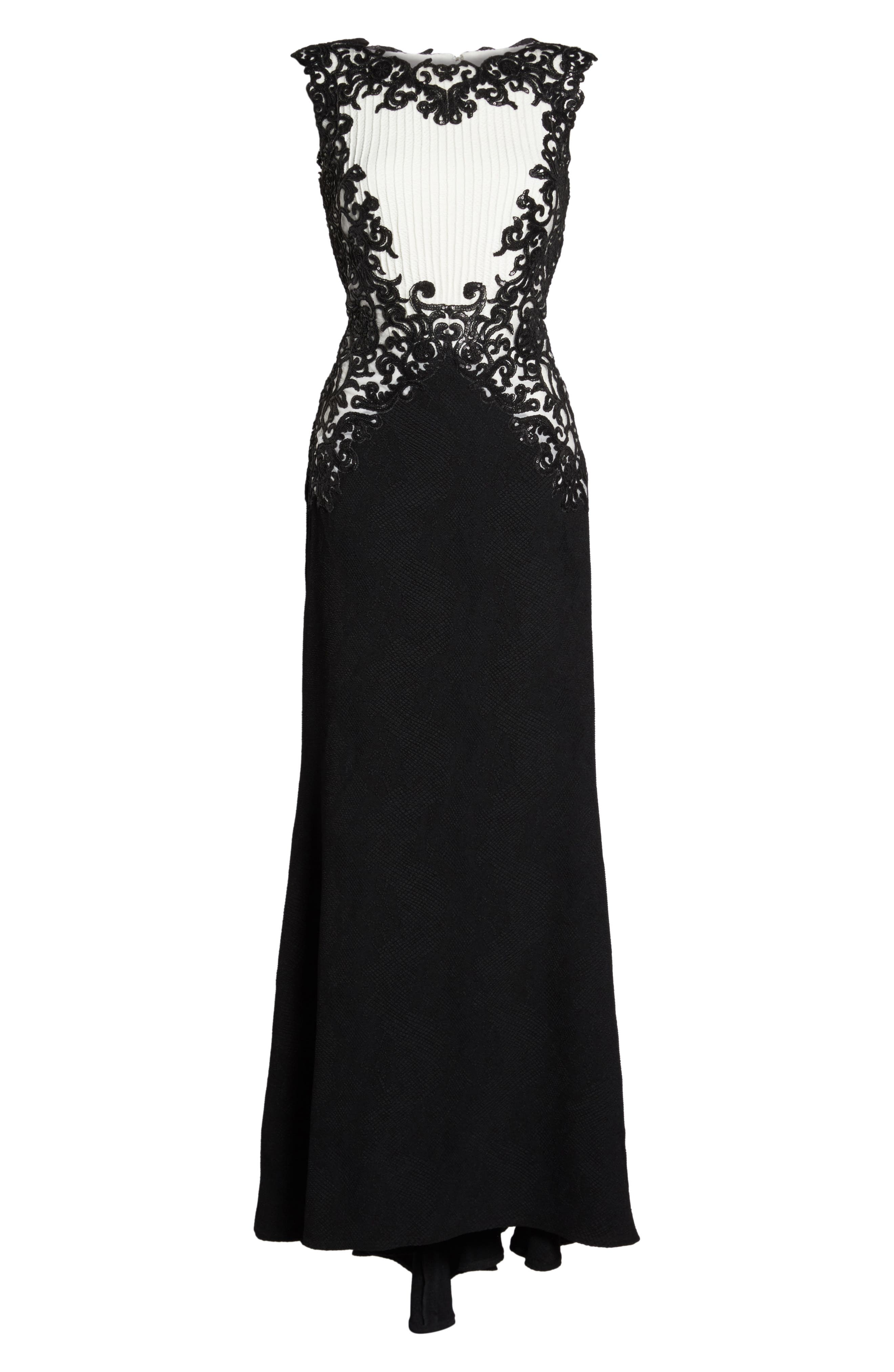 Sequin Embroidered Textured Crepe Gown,                             Alternate thumbnail 6, color,                             002