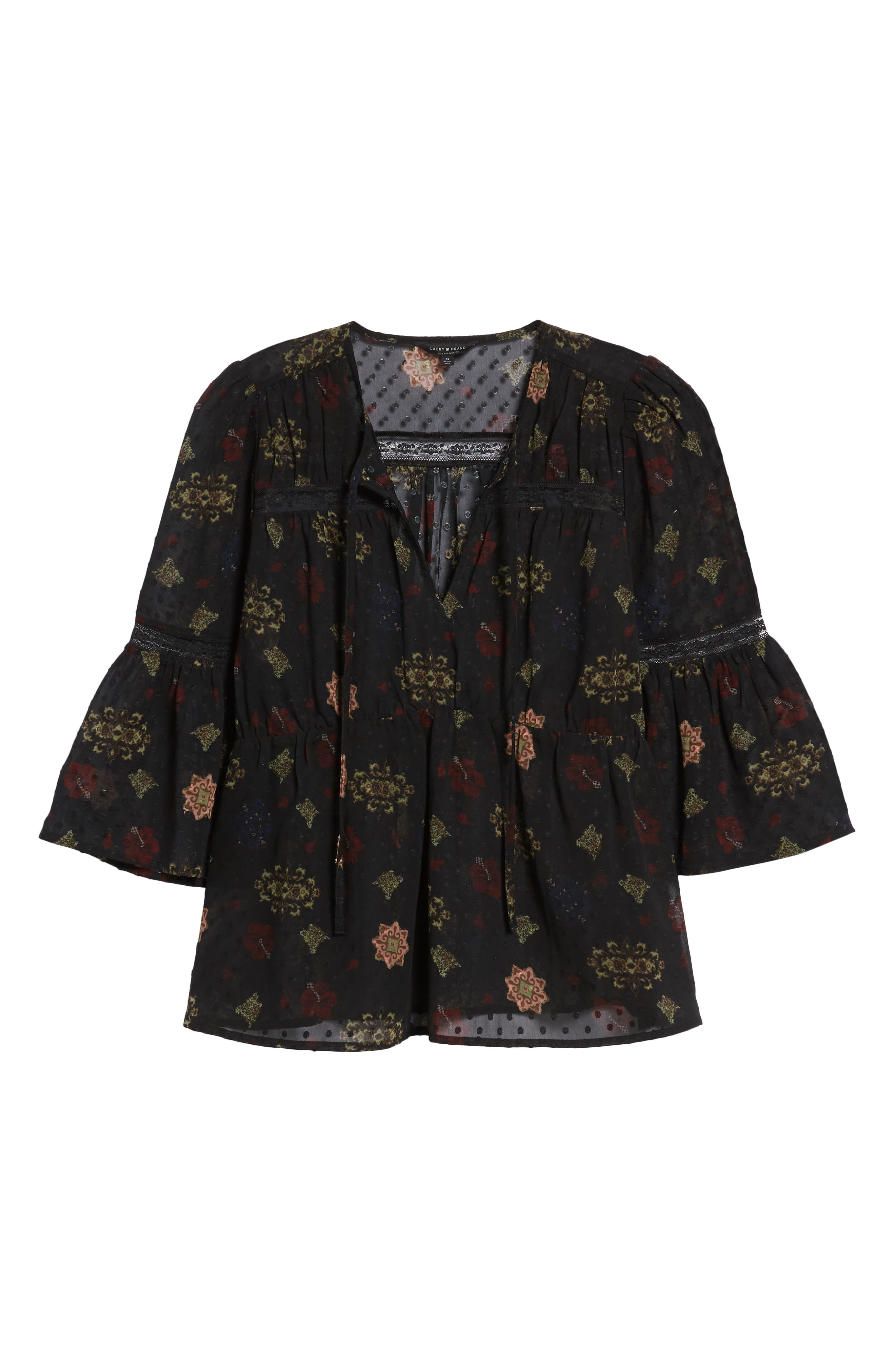 Swiss Dot Sheer Floral Blouse,                             Alternate thumbnail 6, color,                             001