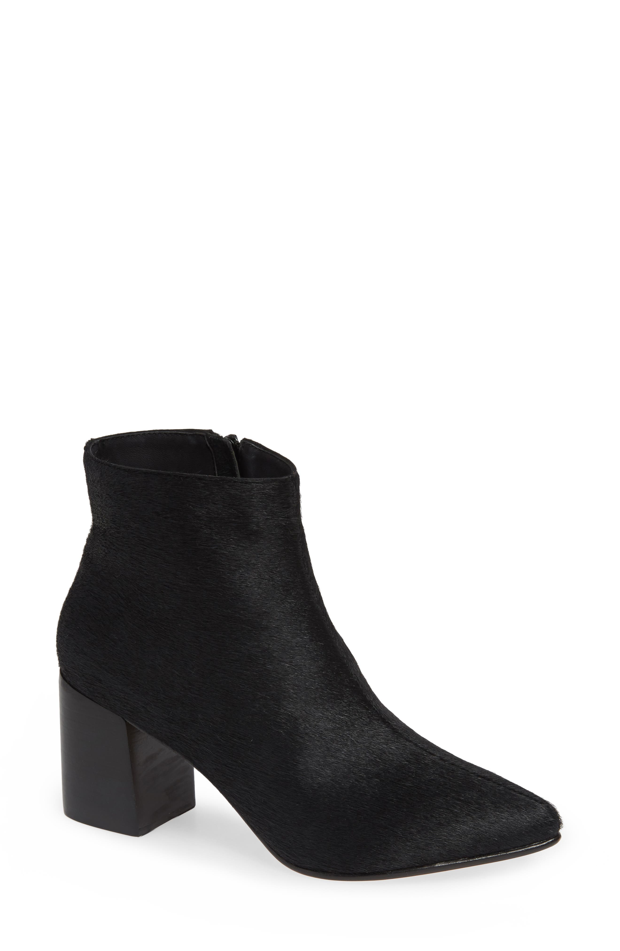Huma Blanco Vania Genuine Calf Hair Pointed Toe Bootie - Black