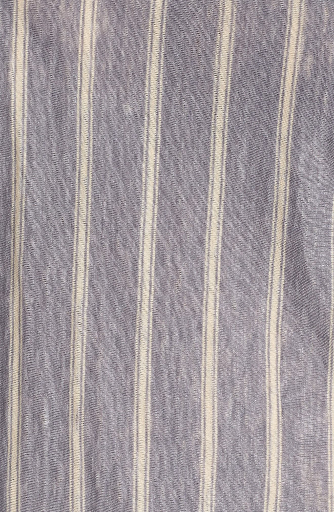 Ruffle Sleeve Mix Stripe Ruffle Tee,                             Alternate thumbnail 5, color,                             060