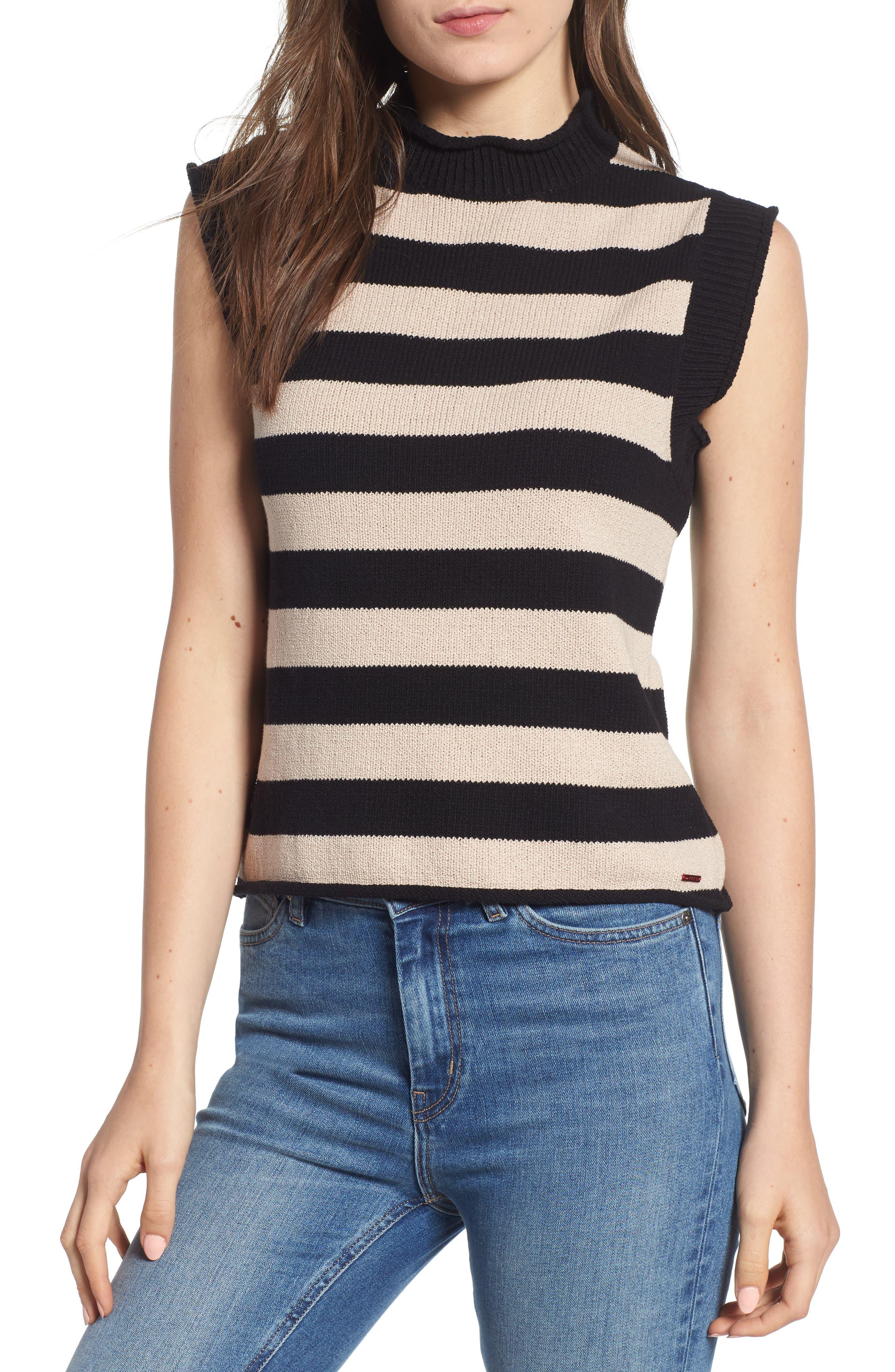 Tenny Stripe Sleeveless Sweater,                         Main,                         color, BLACK CAT / AUTUMN STRIPE