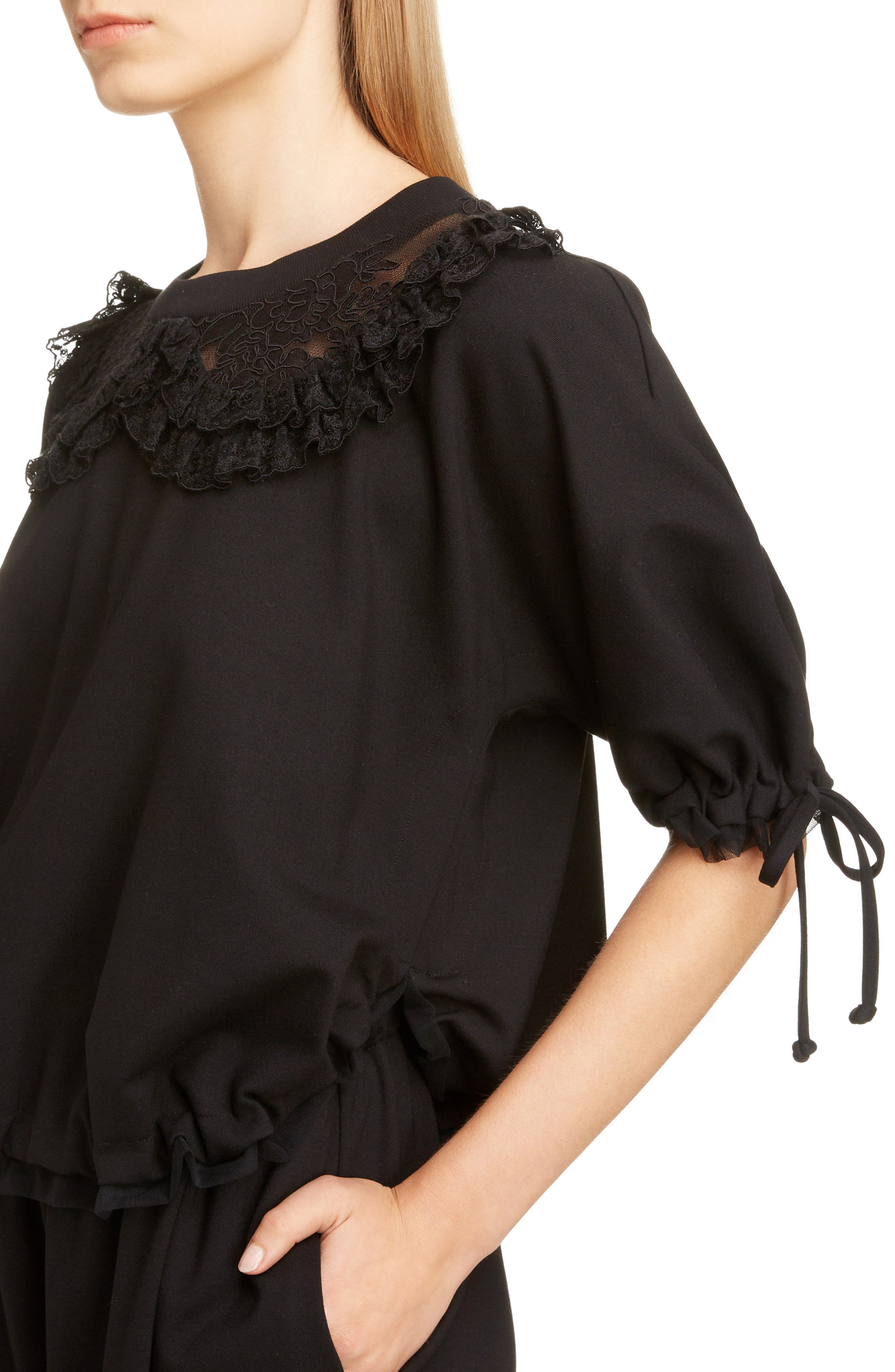 Frilly Lace Ruched Top,                             Alternate thumbnail 4, color,                             BLACK