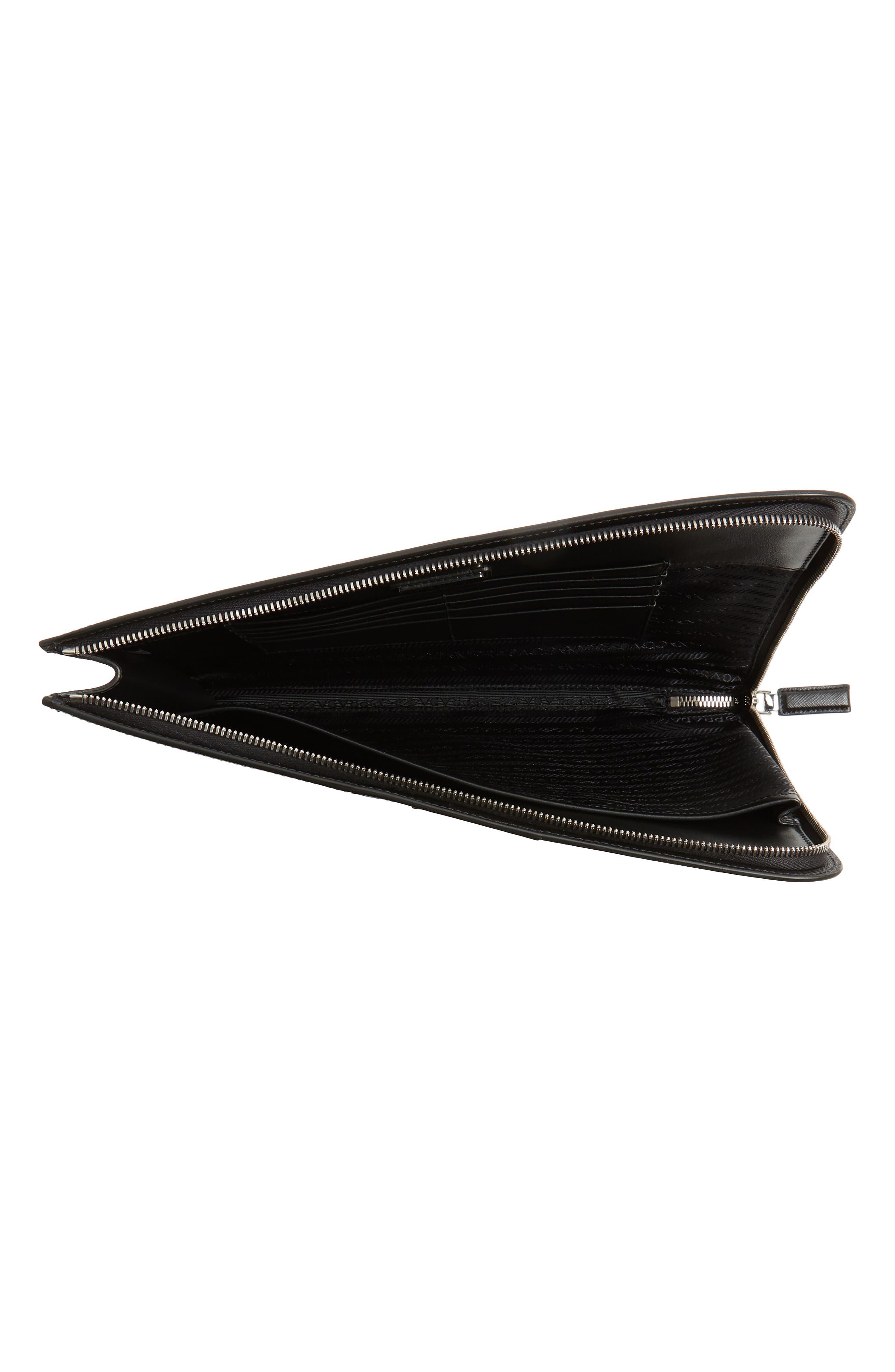 Saffiano Leather Zip Folio,                             Alternate thumbnail 3, color,                             BLACK