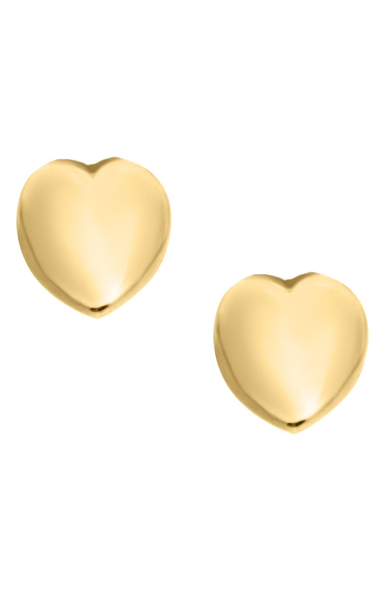14k Gold Puffed Heart Earrings,                             Main thumbnail 1, color,                             GOLD