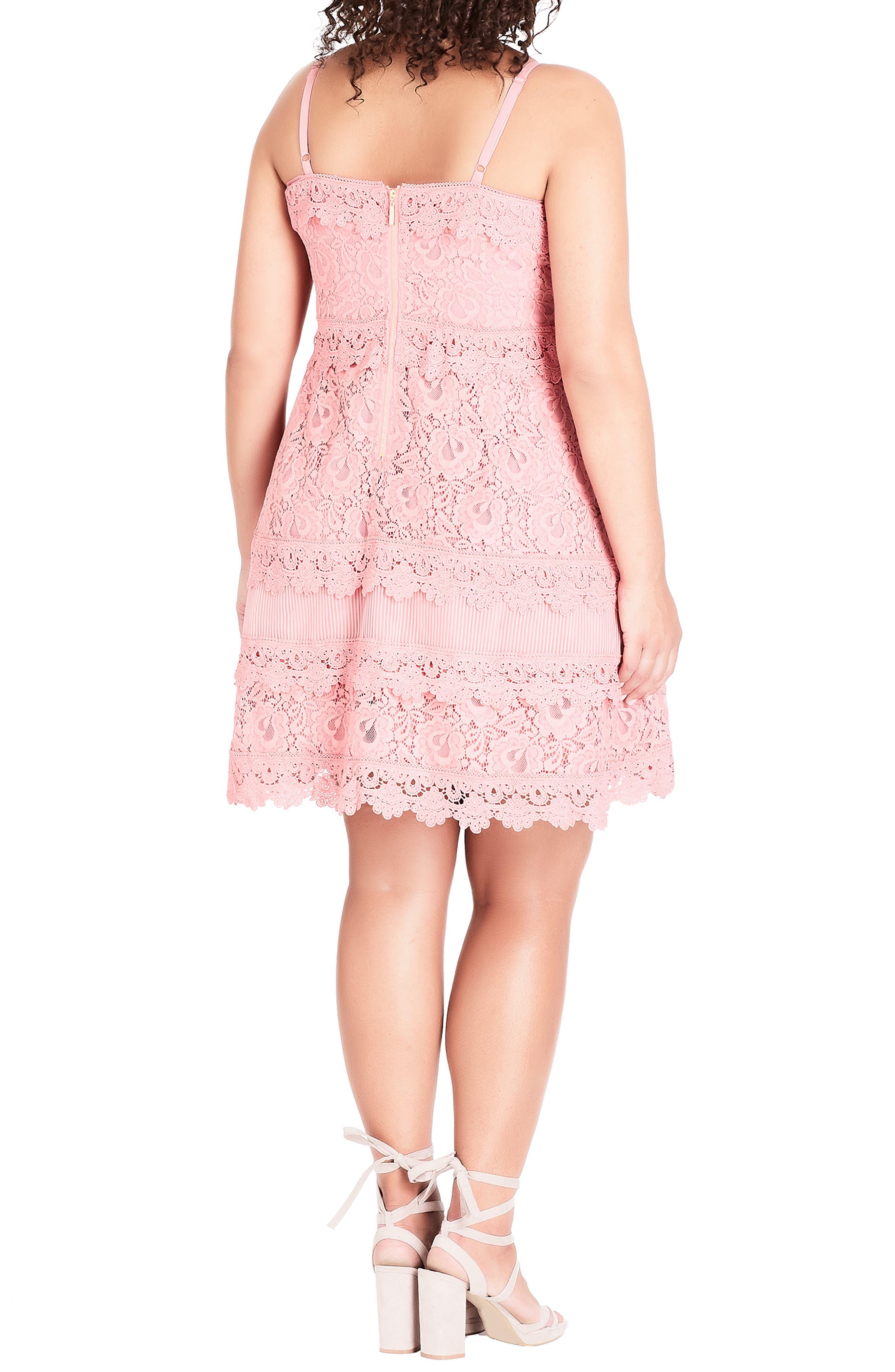 Nouveau Cotton Blend Lace Fit & Flare Dress,                             Alternate thumbnail 2, color,                             POUT