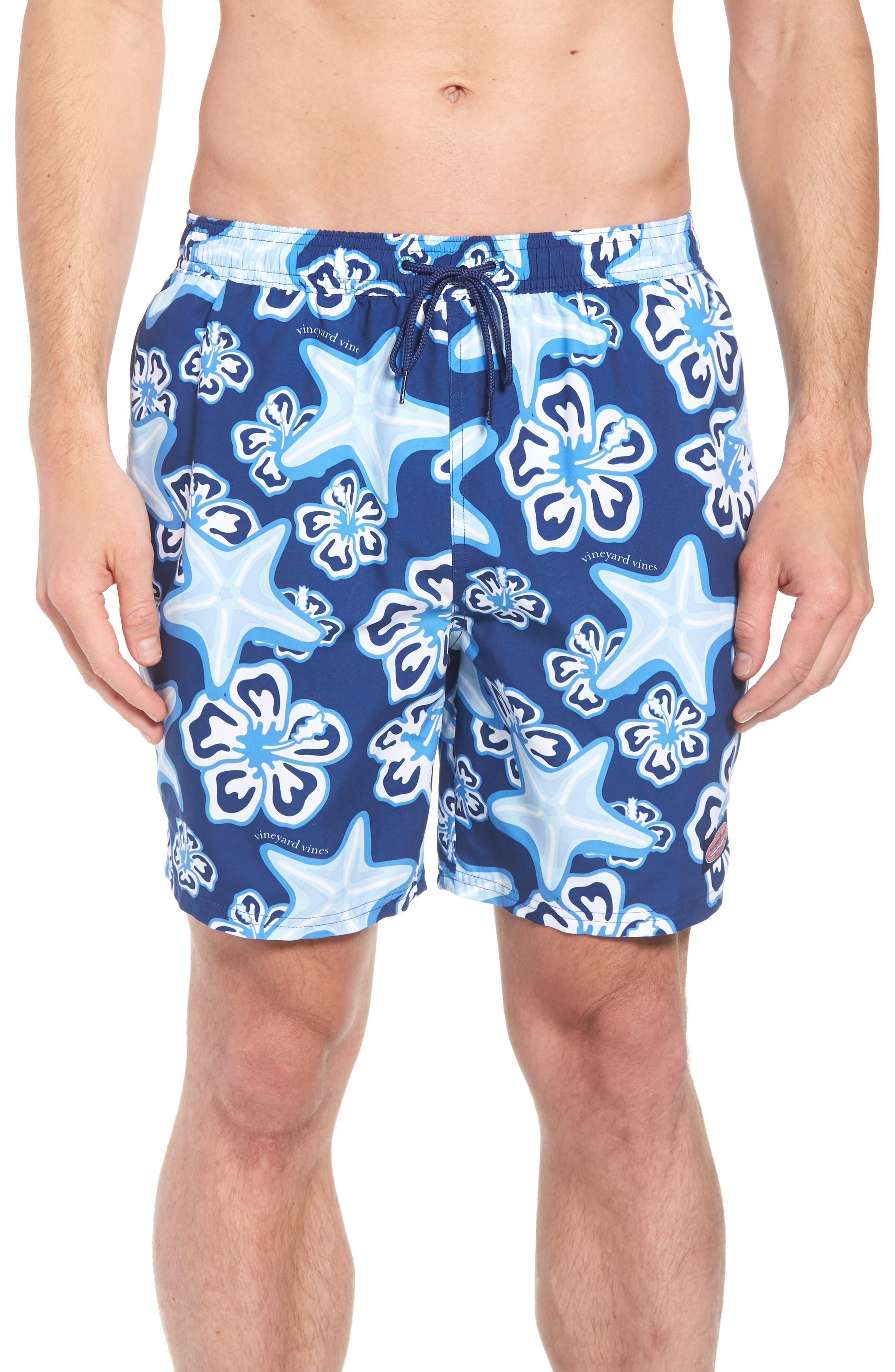 Chappy Starfish Swim Trunks,                         Main,                         color, BLUE DEPTH