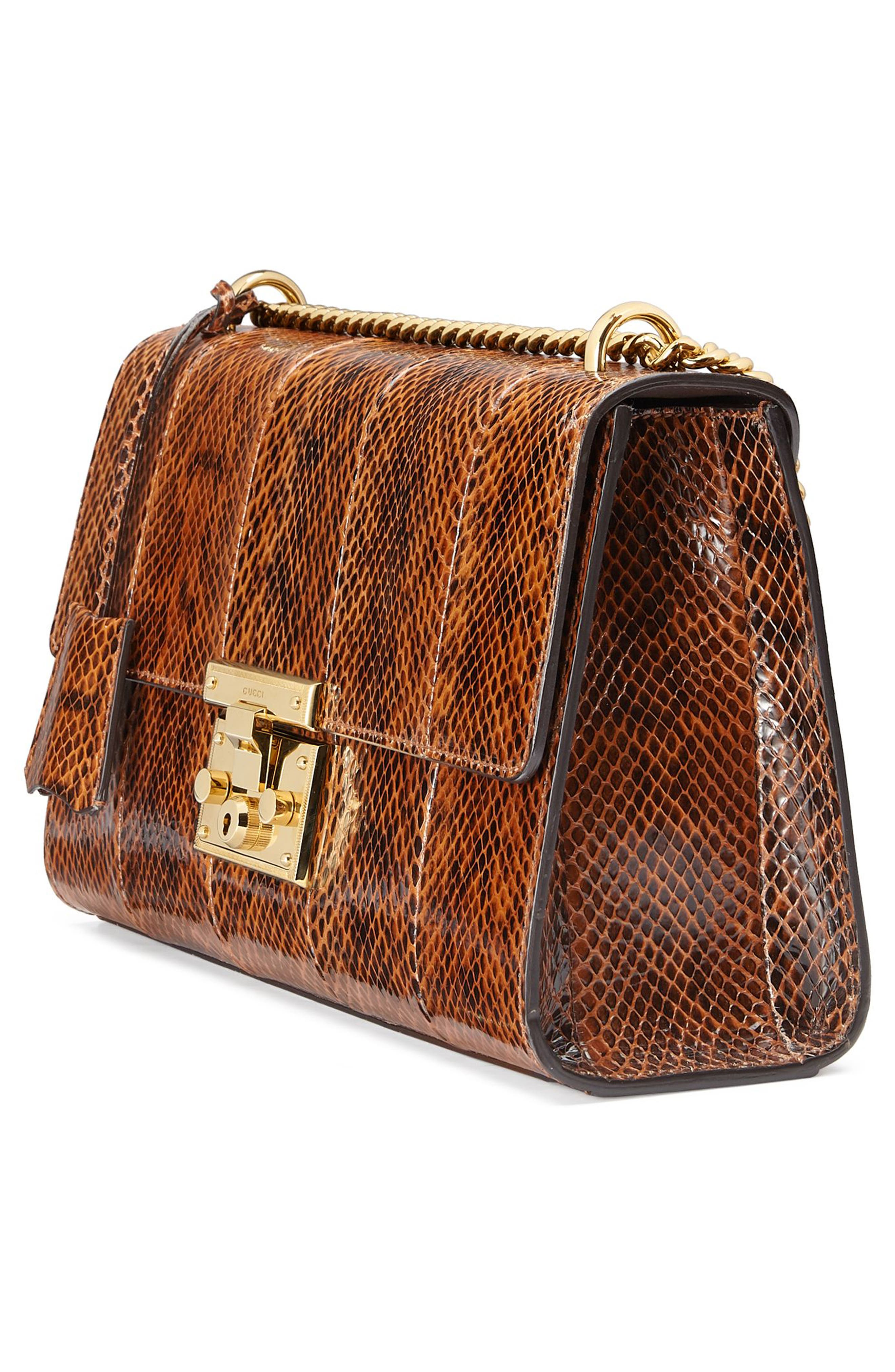 Medium Padlock - Elaphe Genuine Snakeskin Shoulder Bag,                             Alternate thumbnail 4, color,                             BRIGHT CUIR