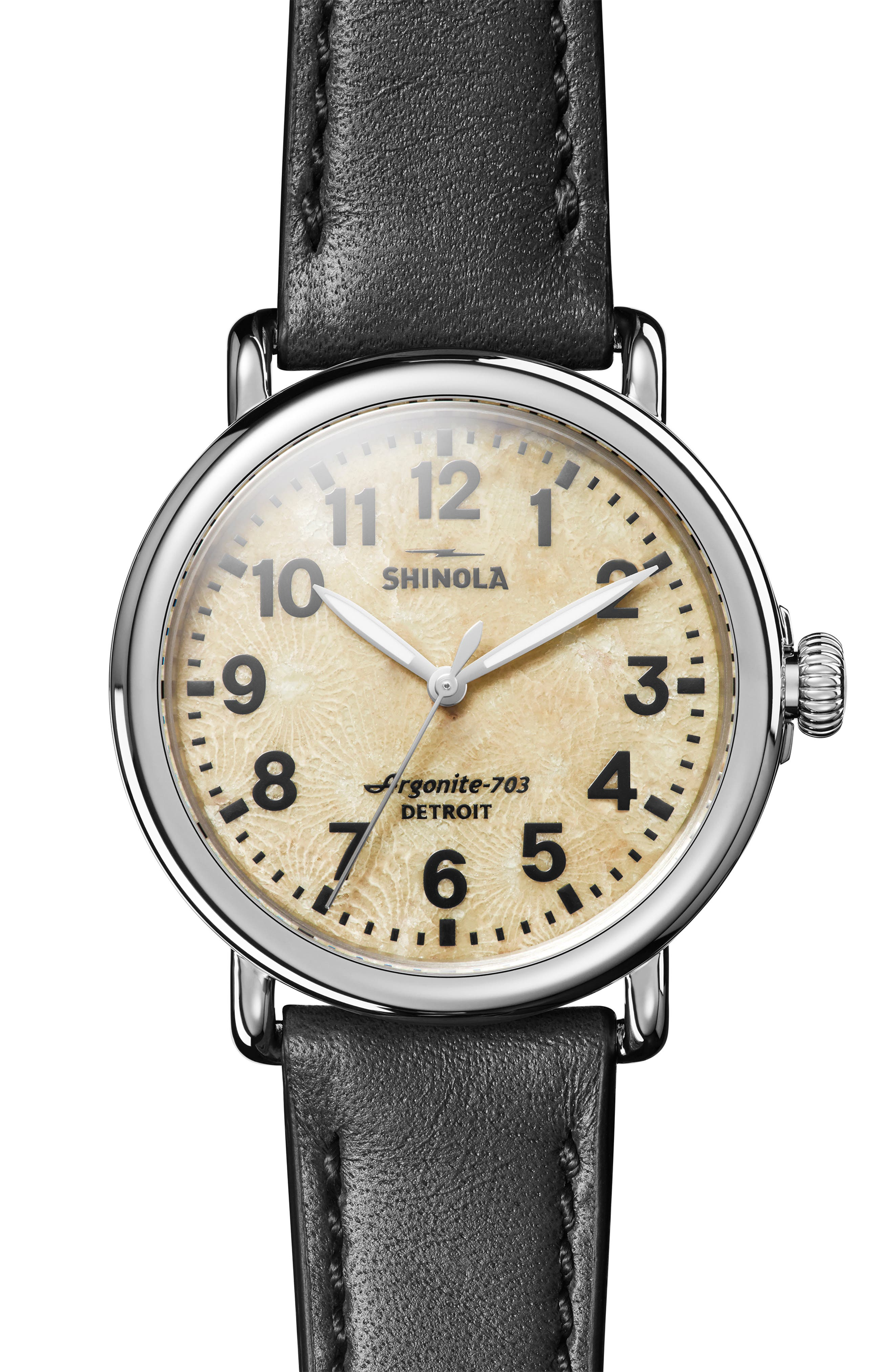 The Runwell Leather Strap Watch, 40mm,                         Main,                         color, BLACK/ PETOSKEY STONE/ SILVER