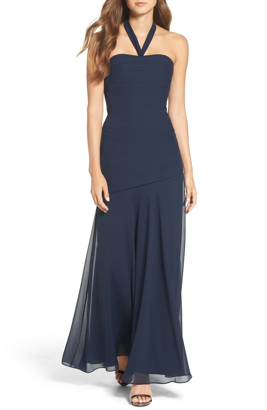 Chiffon Halter Gown,                             Main thumbnail 2, color,