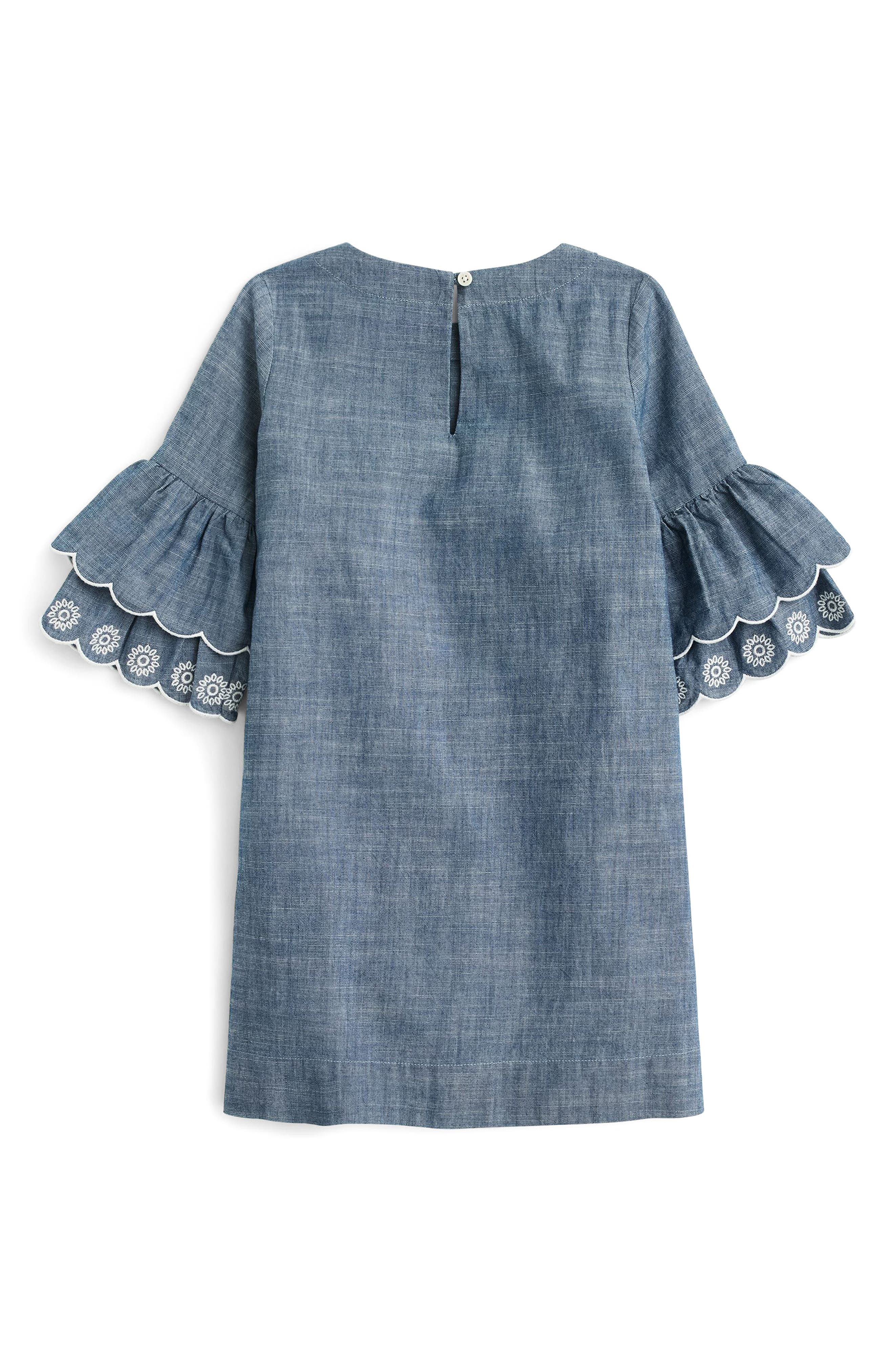 Chambray Ruffle Sleeve Dress,                             Alternate thumbnail 2, color,                             400