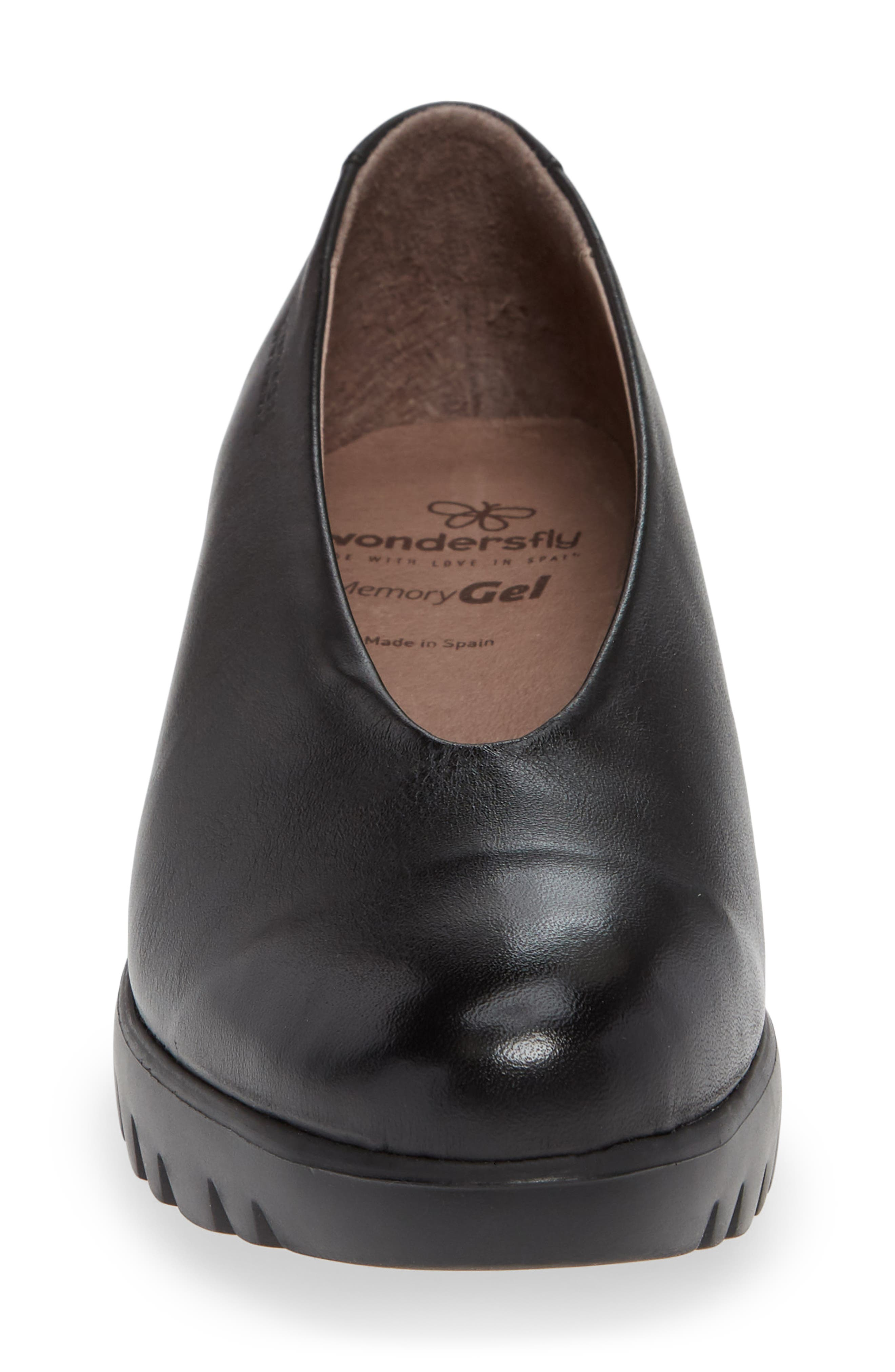 Extralite Wedge Pump,                             Alternate thumbnail 4, color,                             BLACK LEATHER