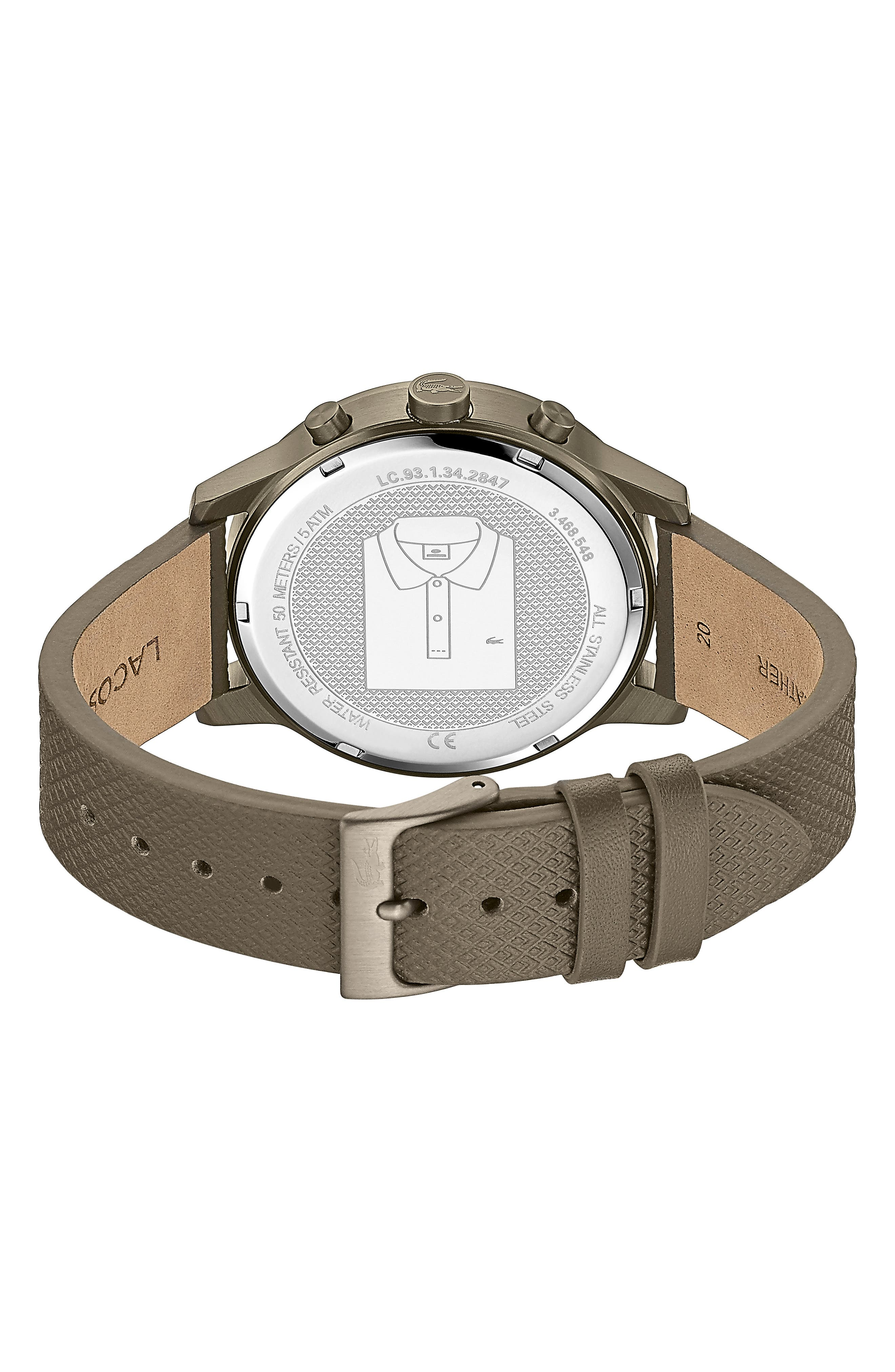 12.12 Premium Chronograph Leather Strap Watch, 42mm,                             Alternate thumbnail 2, color,                             OLIVE