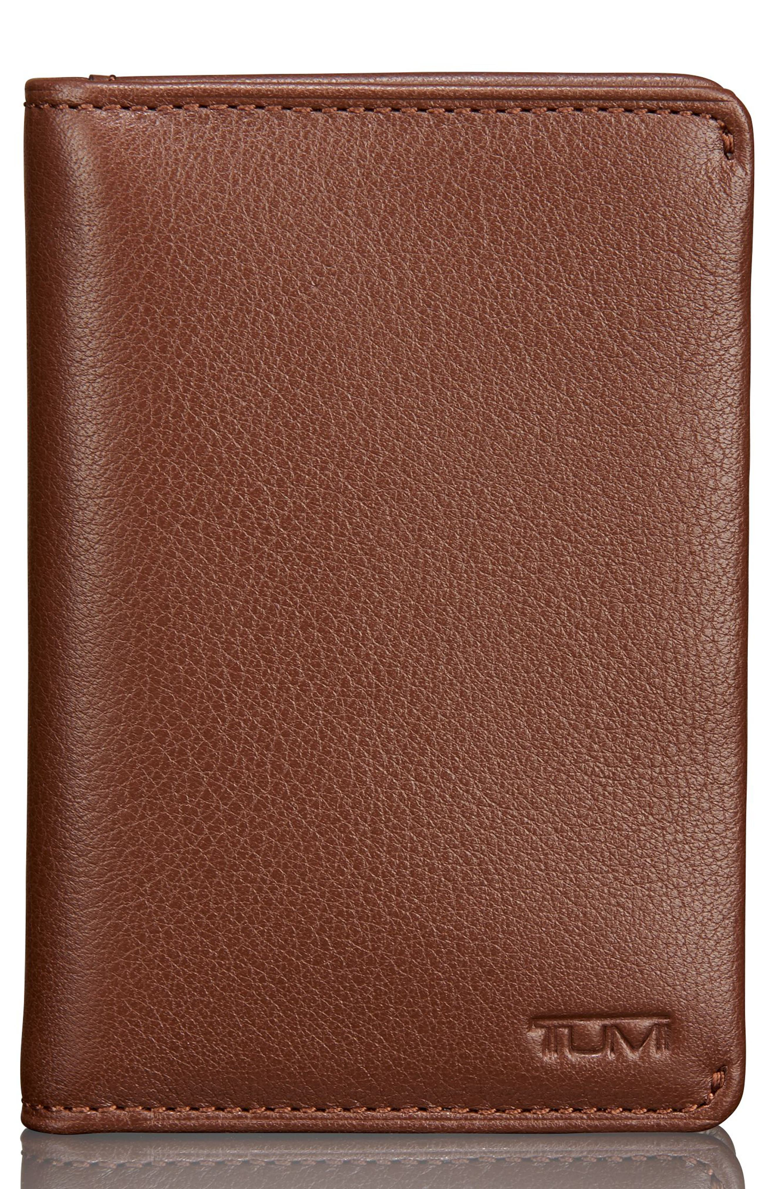 Leather Card Case,                             Main thumbnail 1, color,                             BROWN TEXTURED
