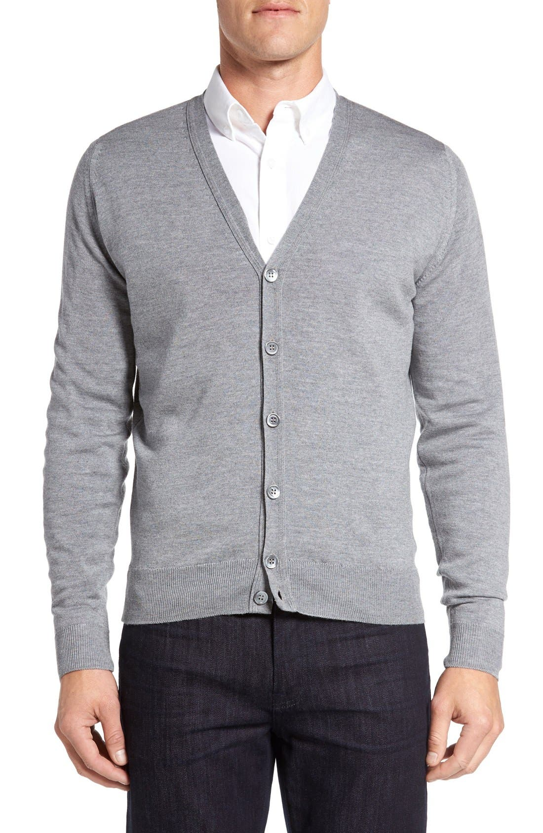 'Bryn' Easy Fit Wool Button Cardigan,                         Main,                         color, SILVER