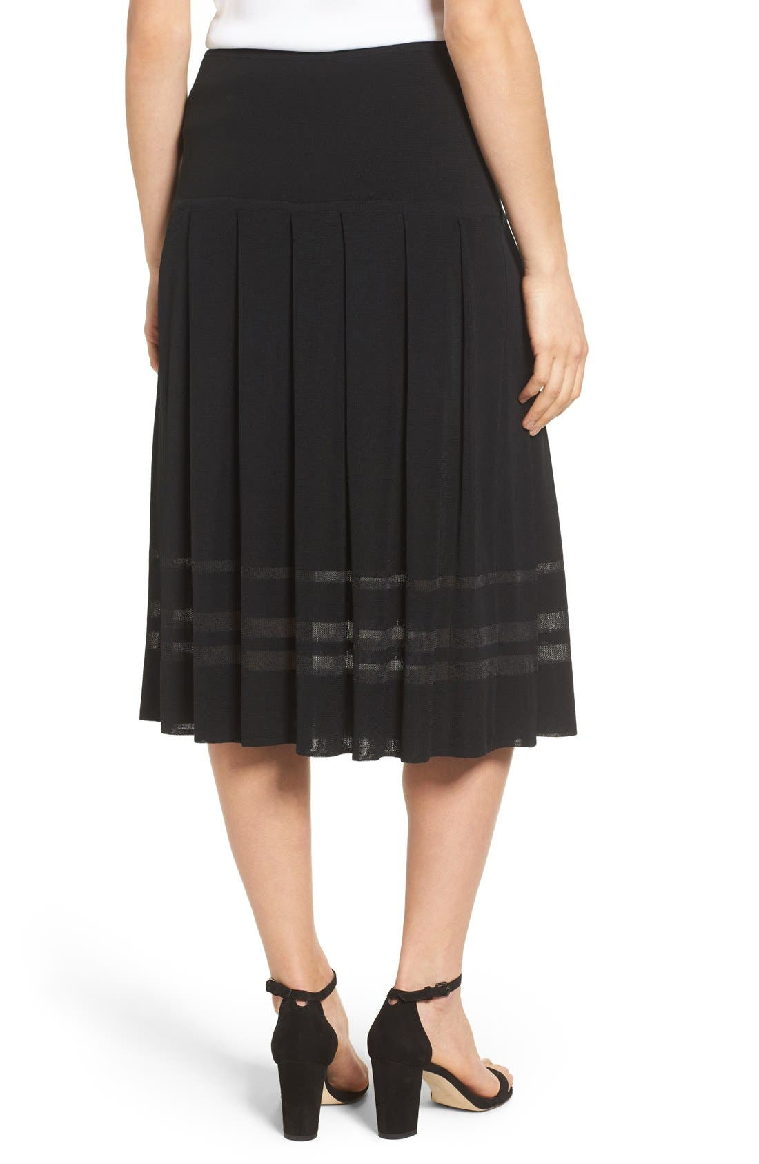 Pleated Midi Skirt,                             Alternate thumbnail 8, color,                             BLACK