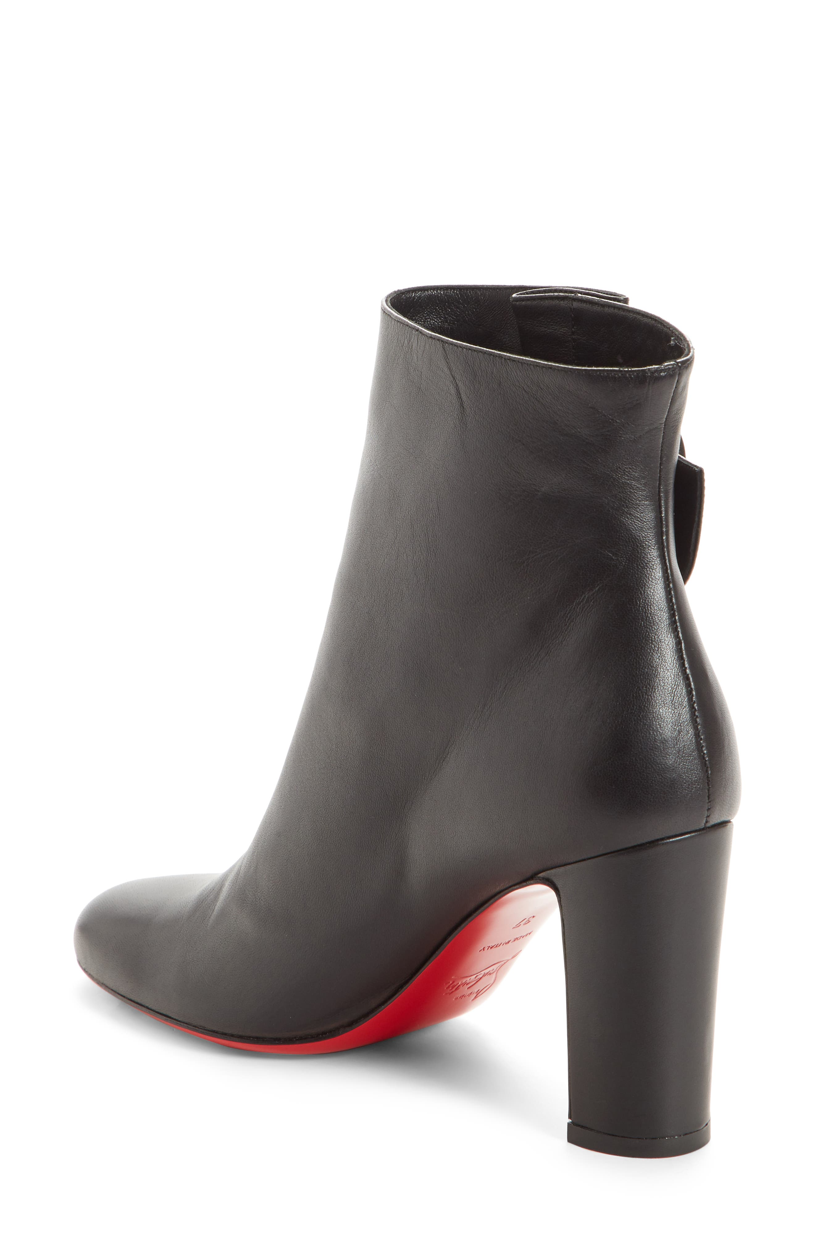 CHRISTIAN LOUBOUTIN,                             Tres Olivia Buckle Bootie,                             Alternate thumbnail 2, color,                             BLACK LEATHER