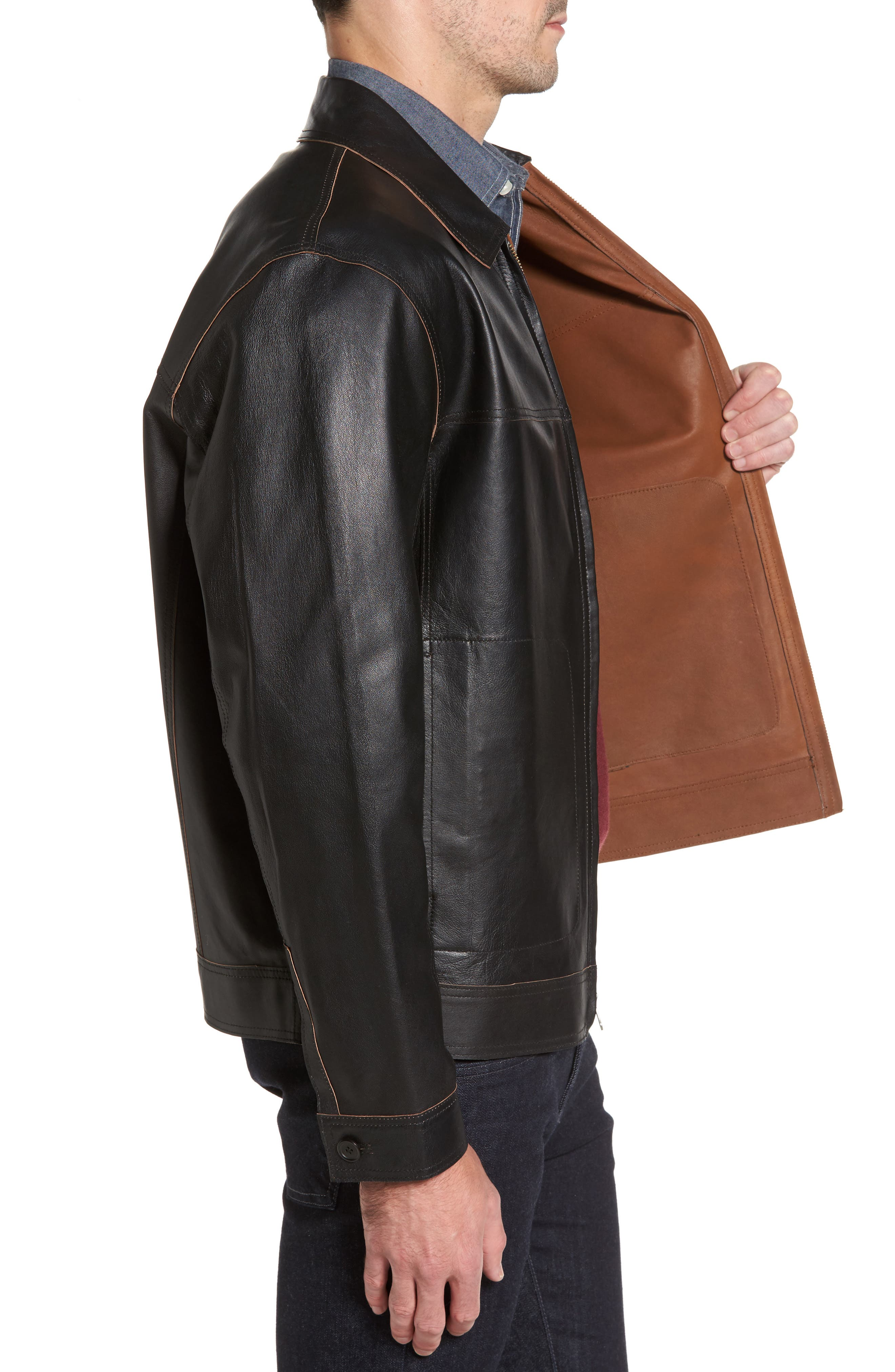 Reversible Leather Jacket,                             Alternate thumbnail 3, color,
