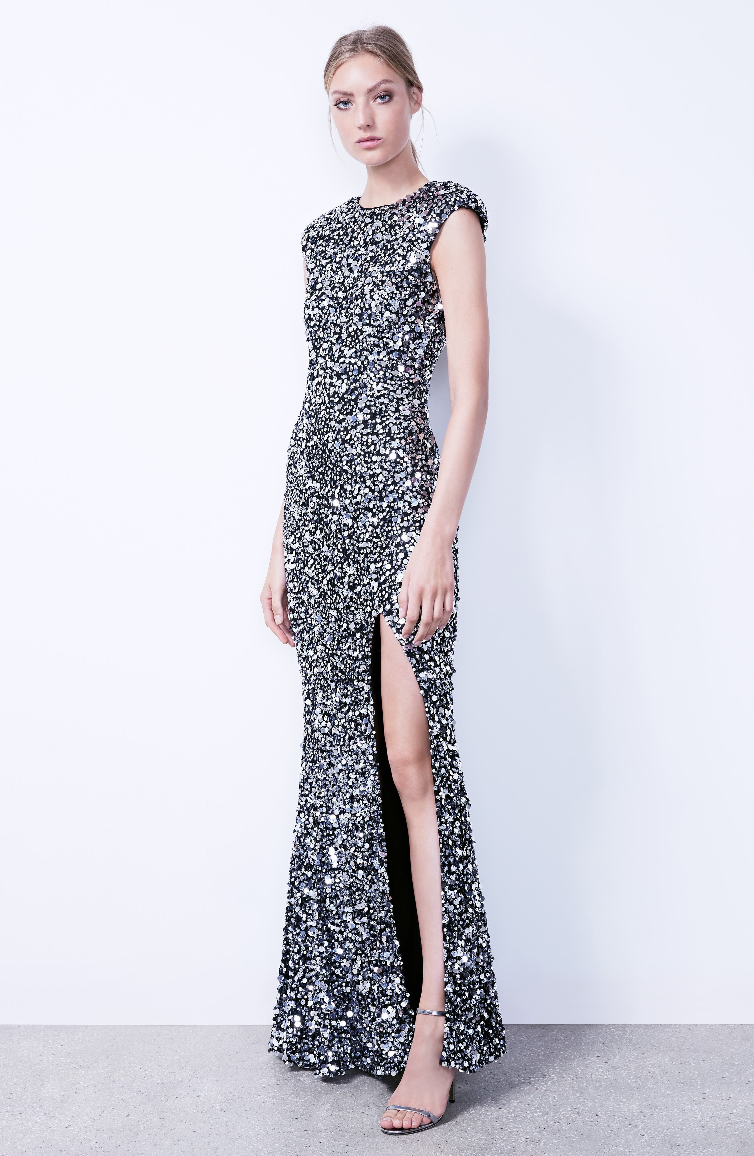 Hand Embellished Sequin Gown,                             Alternate thumbnail 7, color,                             BLACK/ SILVER