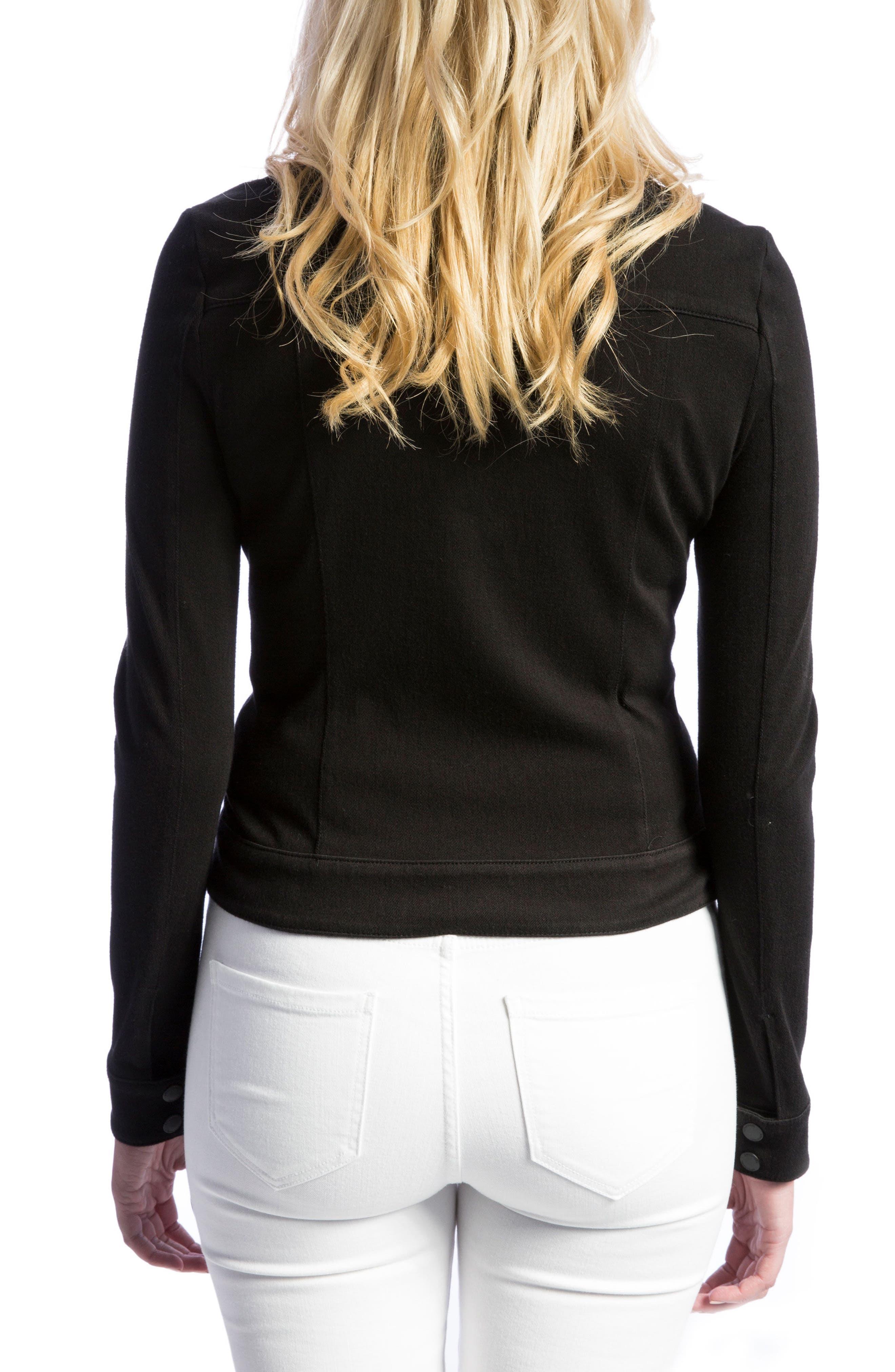 New Moto Stretch Cotton Jacket,                             Alternate thumbnail 2, color,                             BLACK RINSE