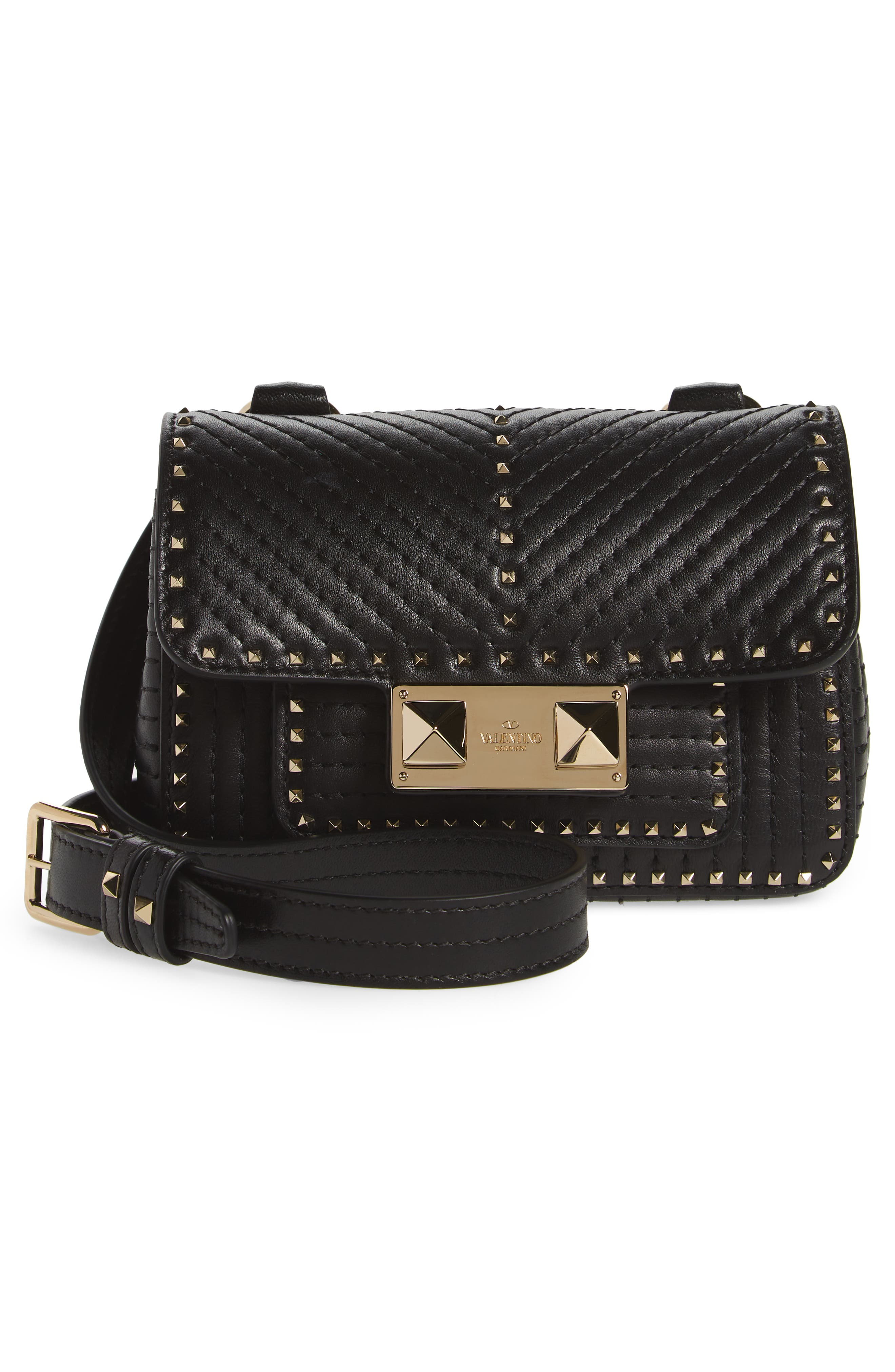 Mini Ziggystud Leather Convertible Crossbody/Belt Bag,                             Alternate thumbnail 4, color,                             001